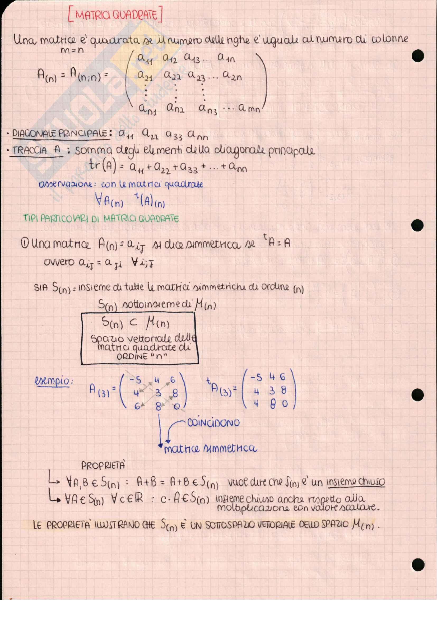 Geometria e algebra lineare, Matrici quadrate: tipi e proprietà