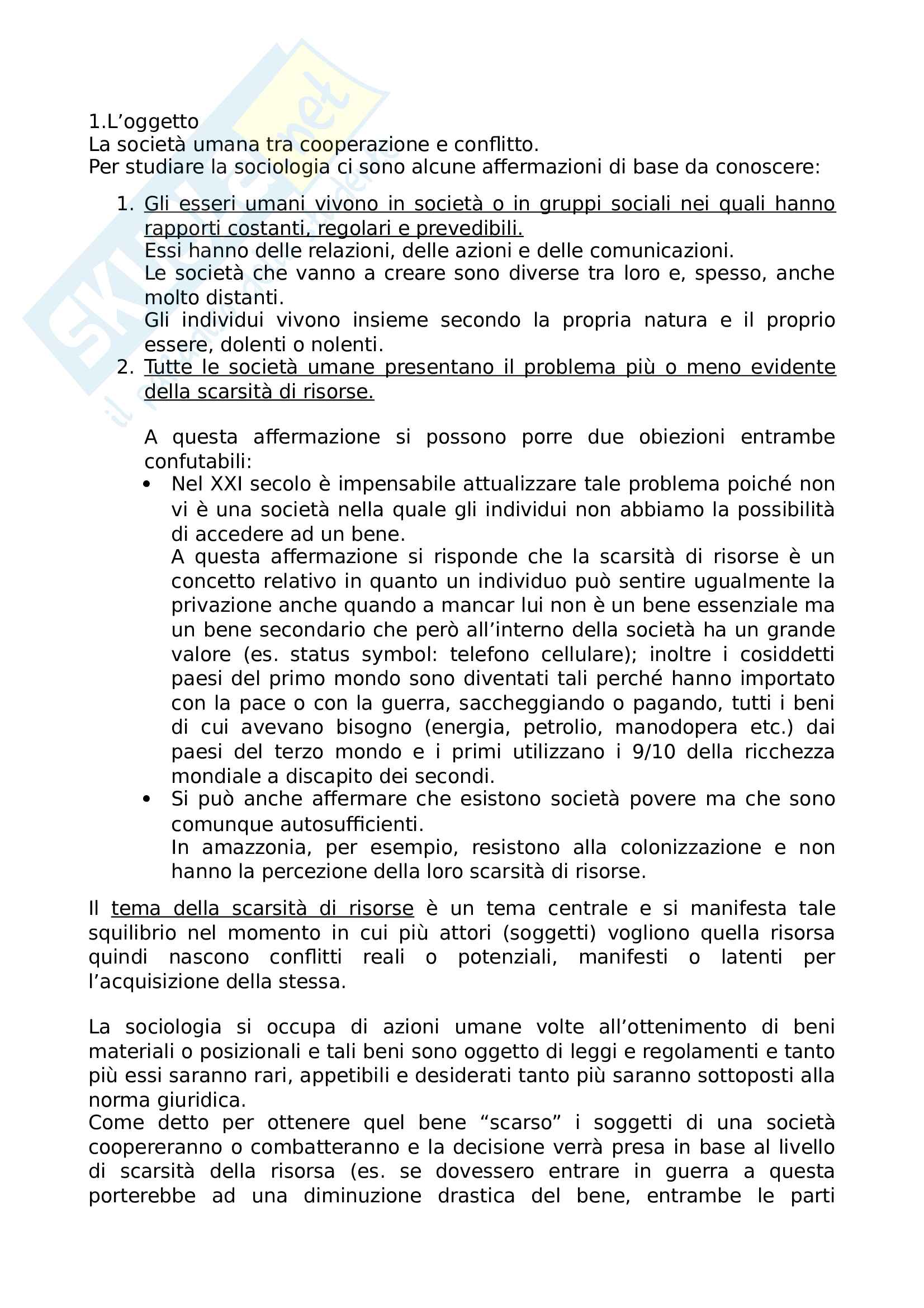 Riassunto esame sociologia, prof Fittipaldi, libro consigliato Prima lezione di sociologia del diritto, Ferrante
