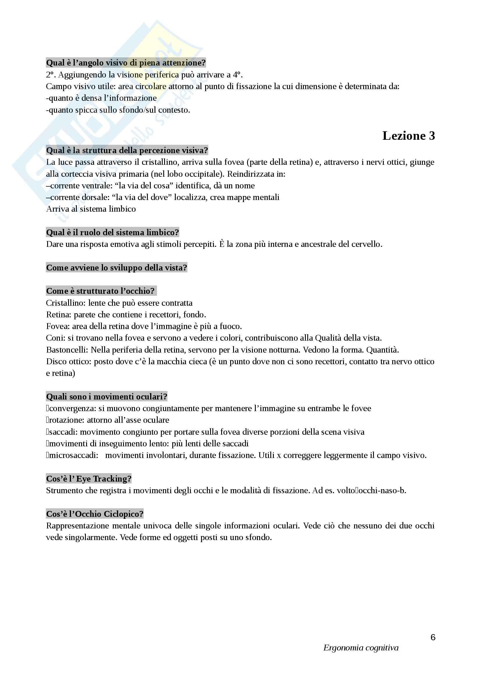 Lezioni, Ergonomia cognitiva Pag. 6