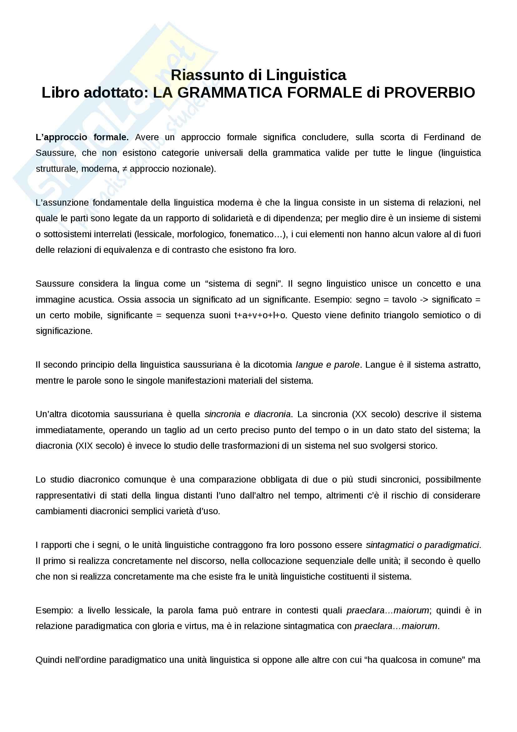 Riassunto esame Linguistica, prof. Rapallo, libro consigliato La grammatica formale, Proverbio