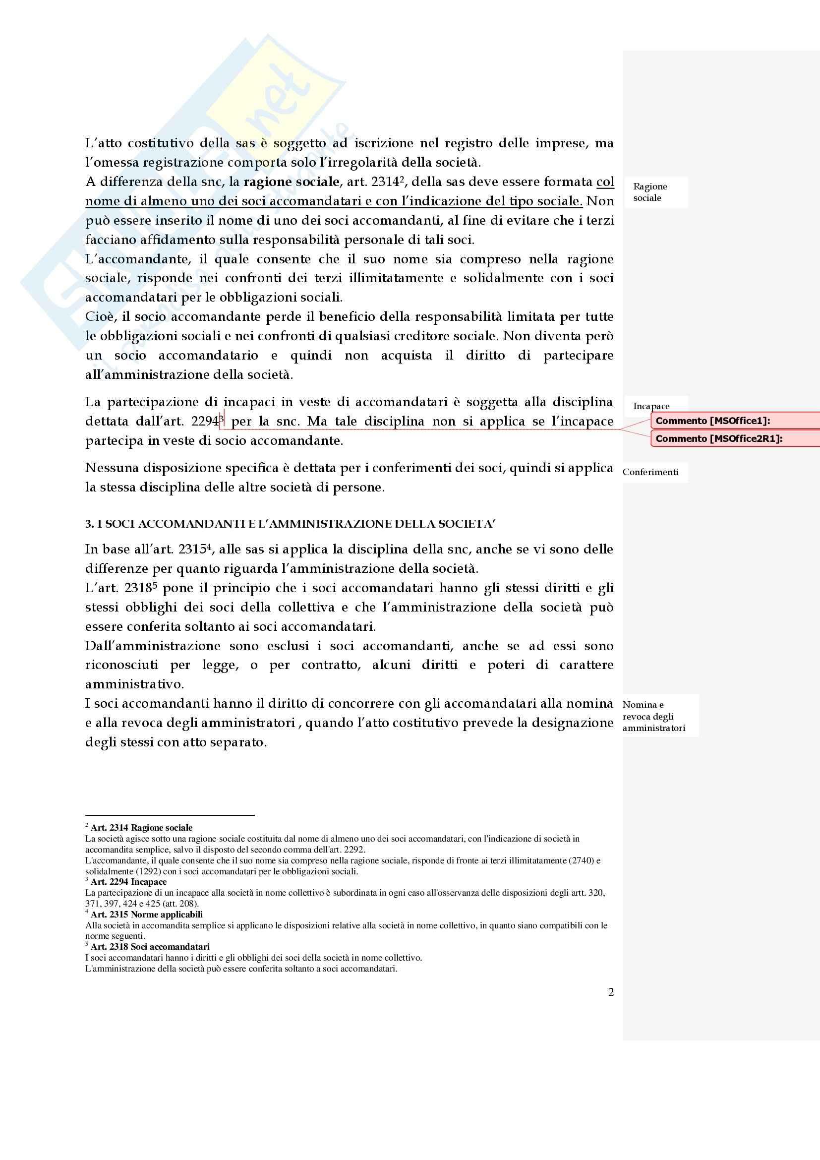 Diritto commerciale - la società in accomandita semplice Pag. 2