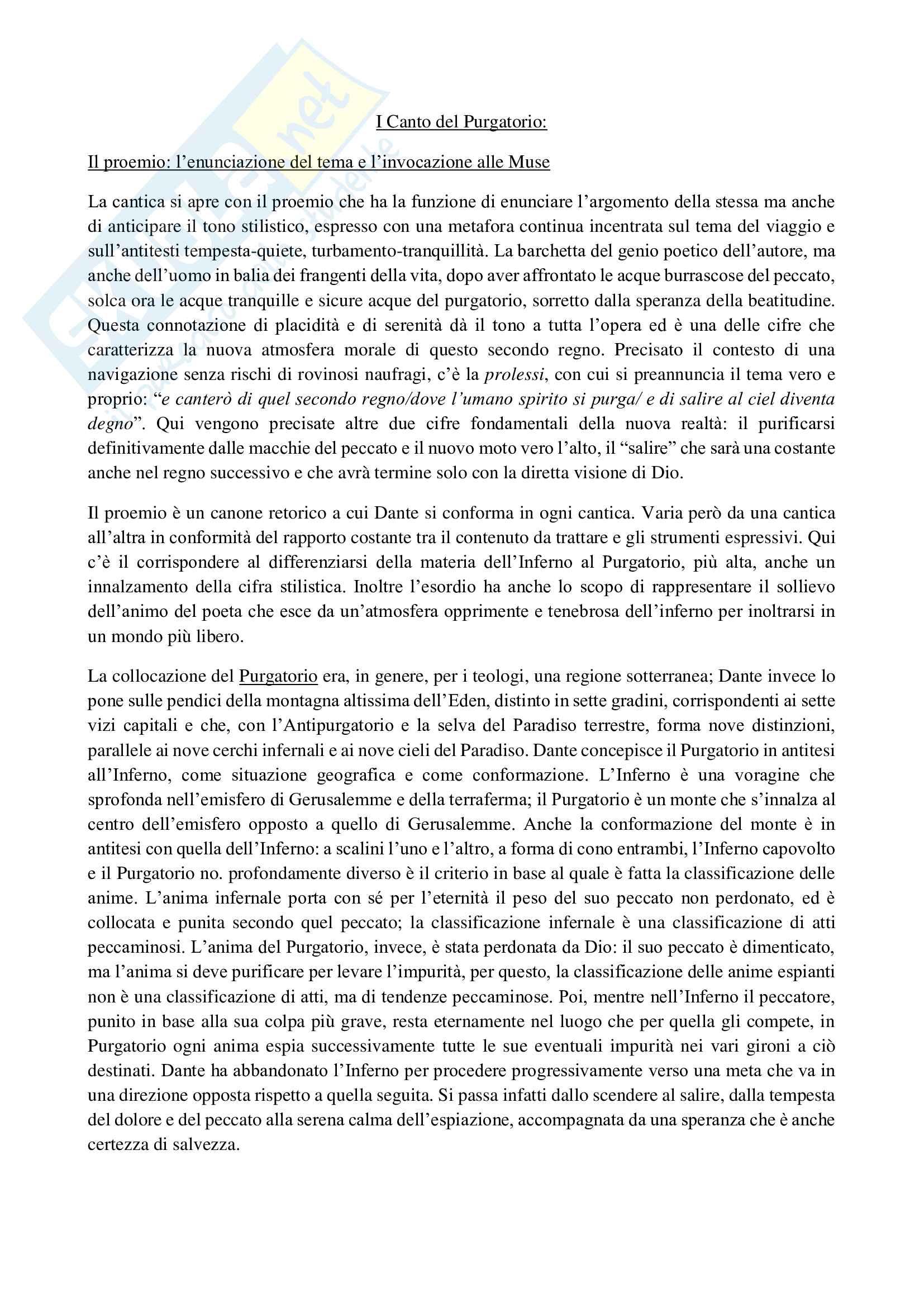 Appunti sul I Canto Purgatorio di Dante
