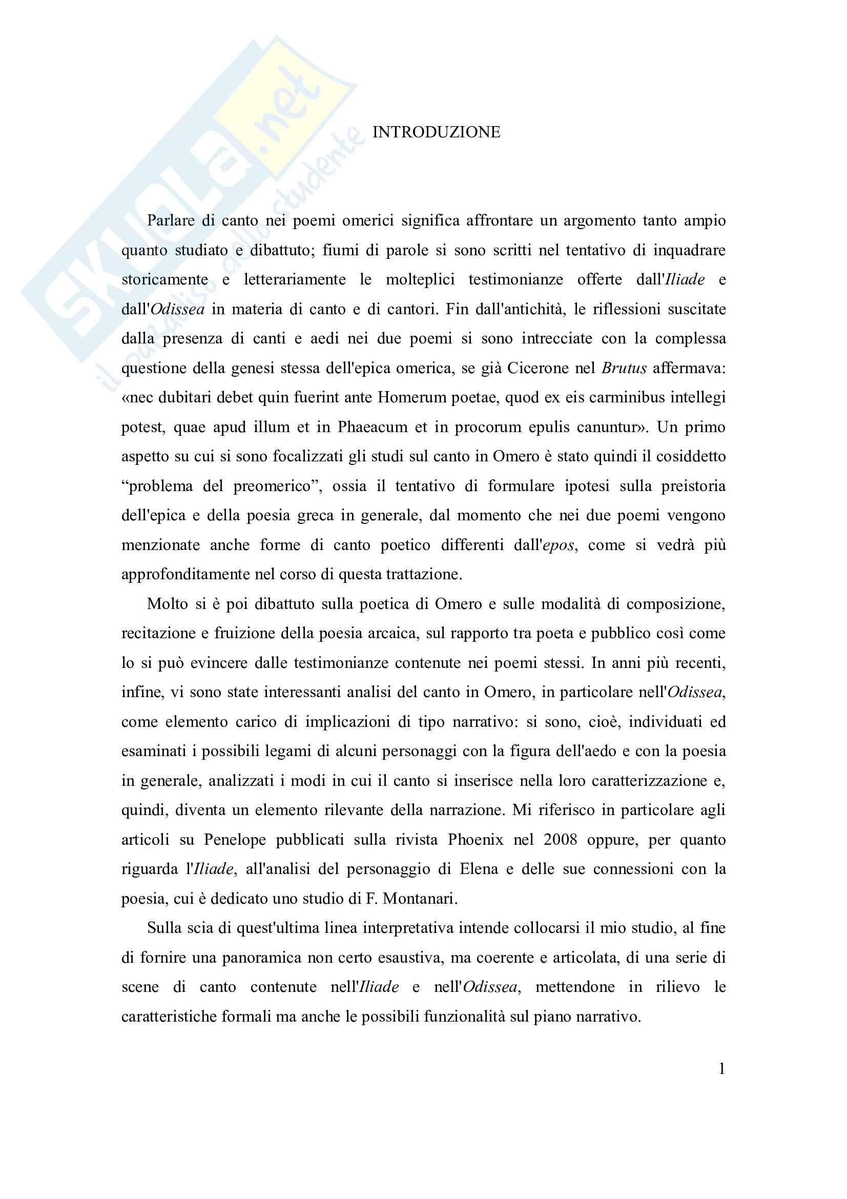 Tesi - Canto e scene di canto nell'Iliade e nell'Odissea Pag. 1