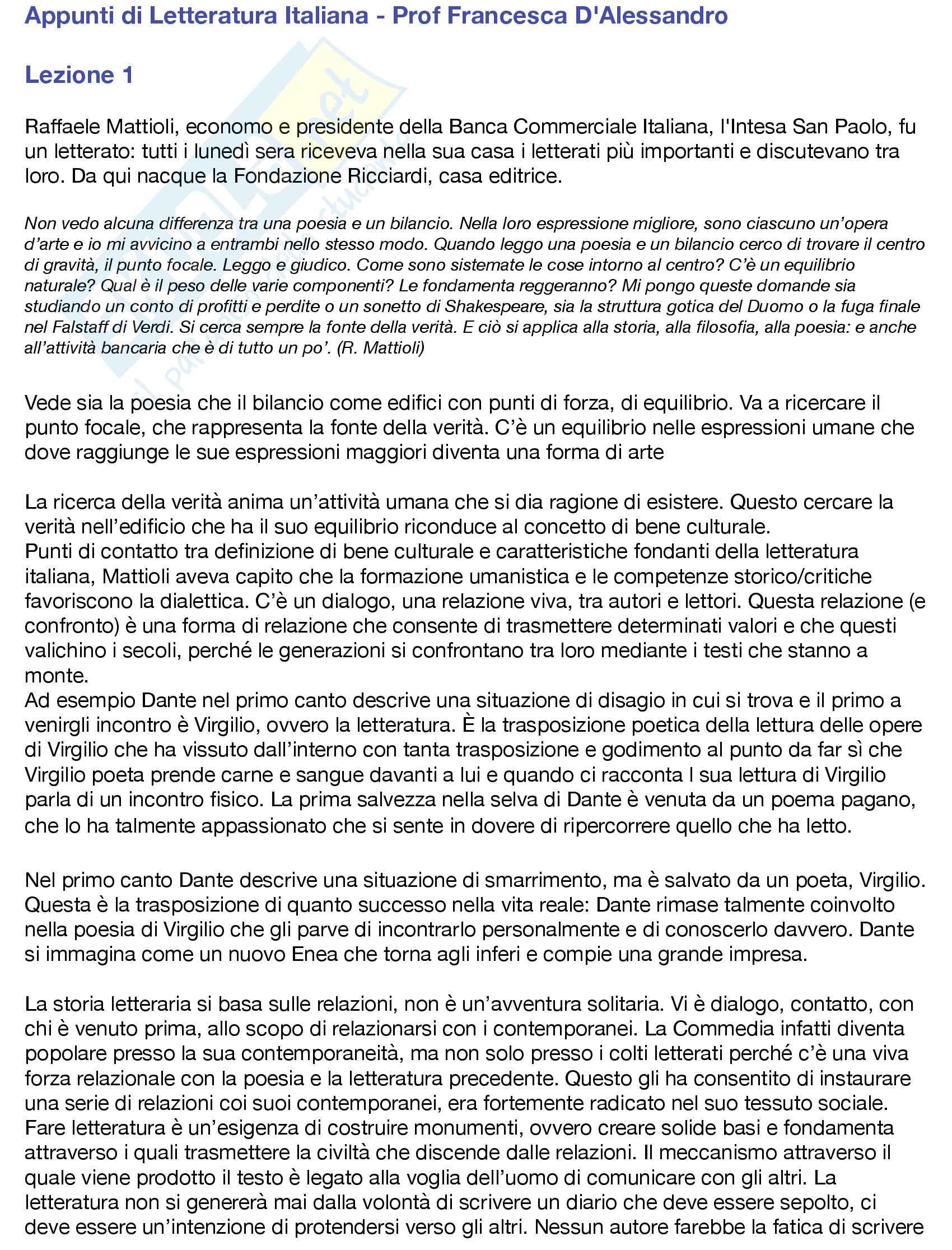 Appunti di Letteratura Italiana - I modulo - Prof D'Alessandro