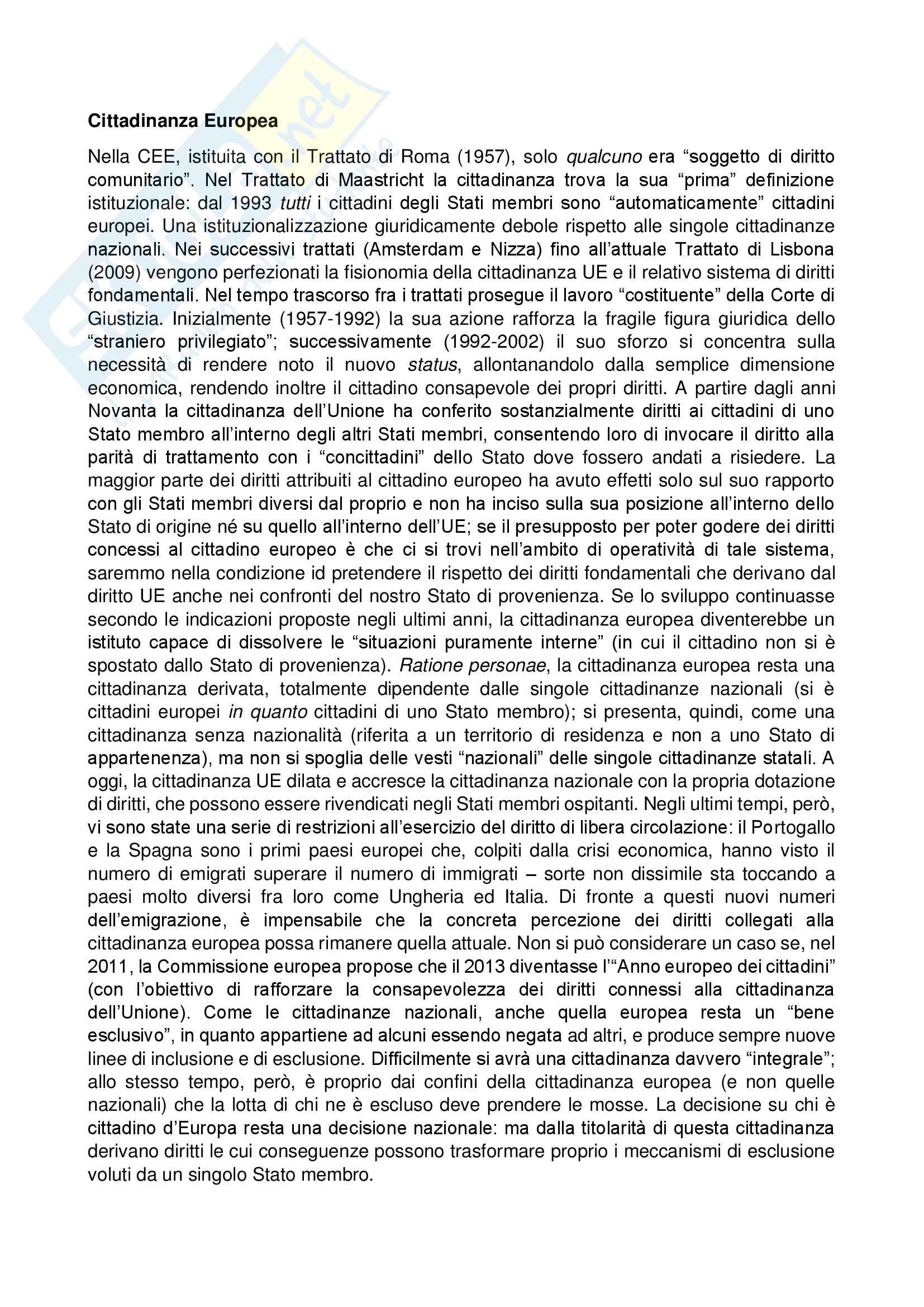 Cittadinanza Europea - Diritto UE - prof. Nicolosi