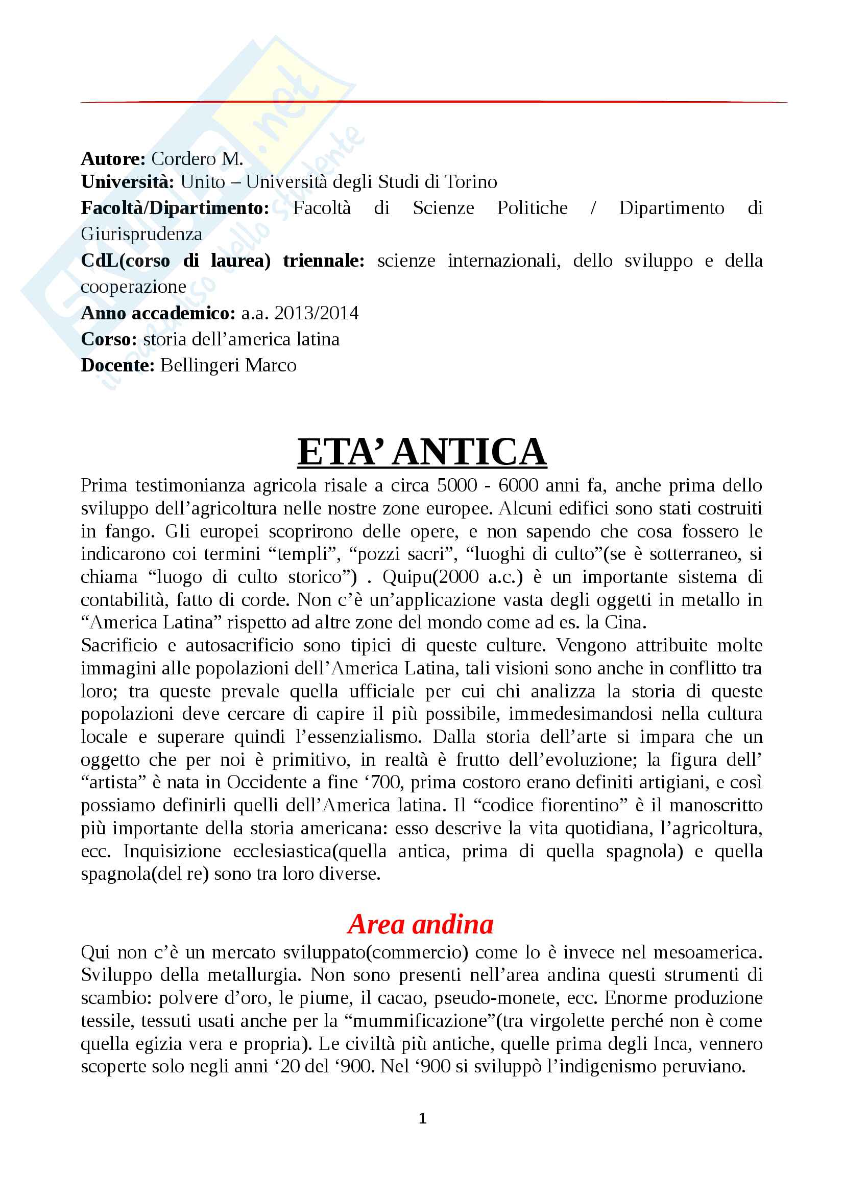 Storia dell'America latina - Prof. Bellingeri Marco - Appunti