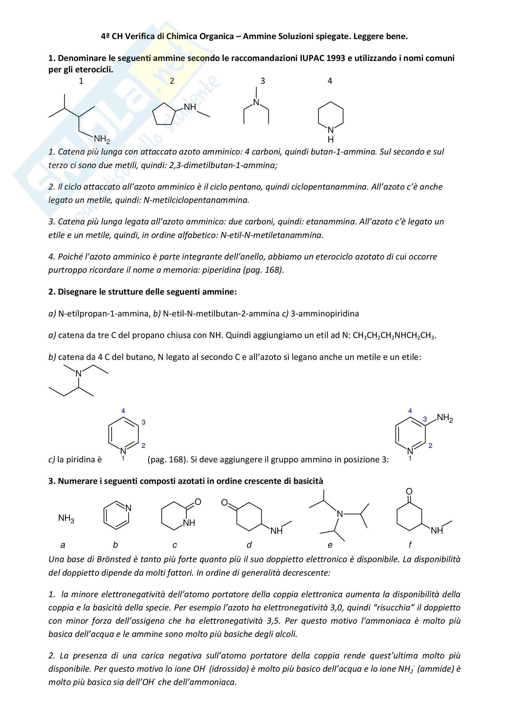 Chimica organica - Esercizi ammine
