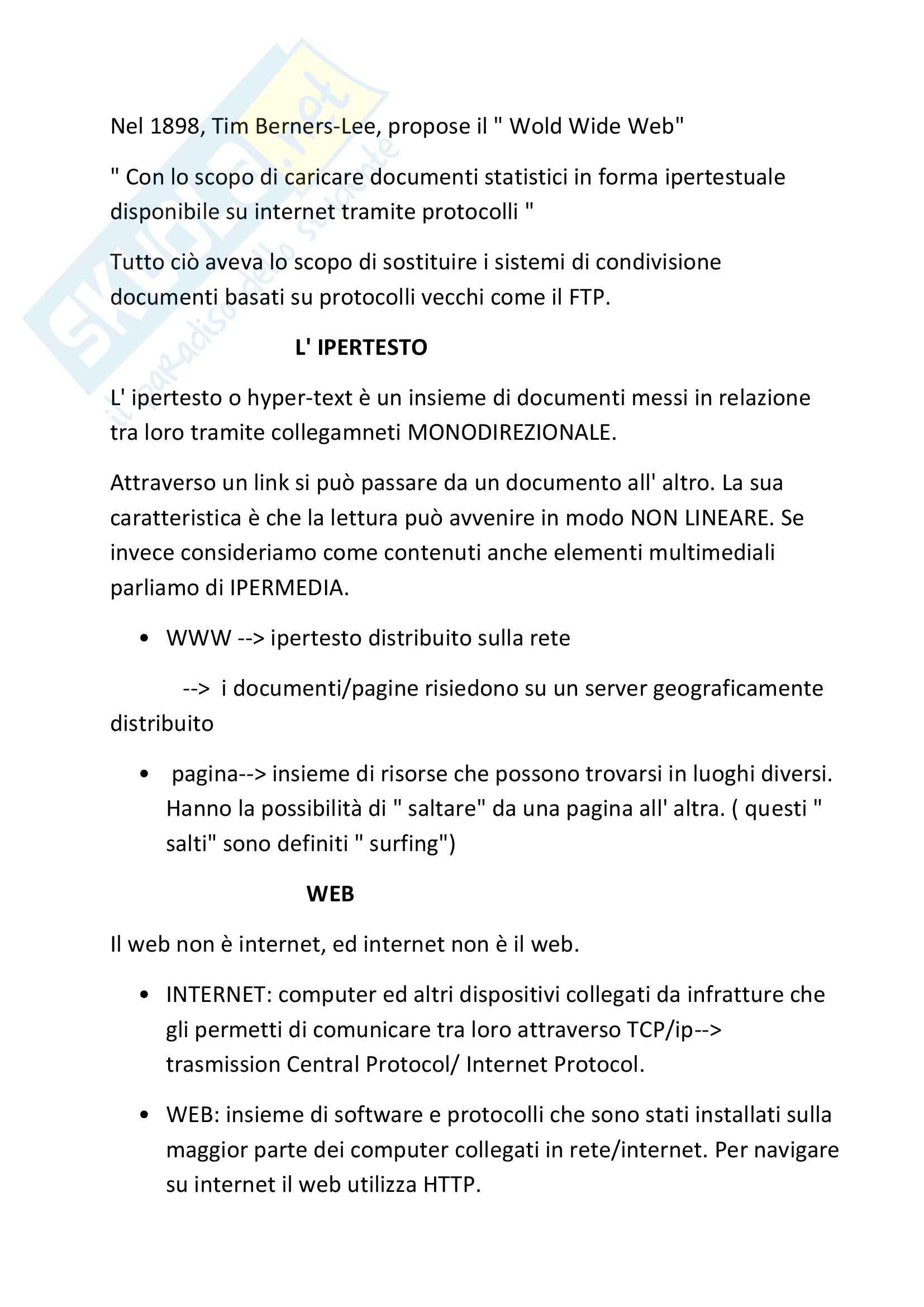 Il Web: Appunti