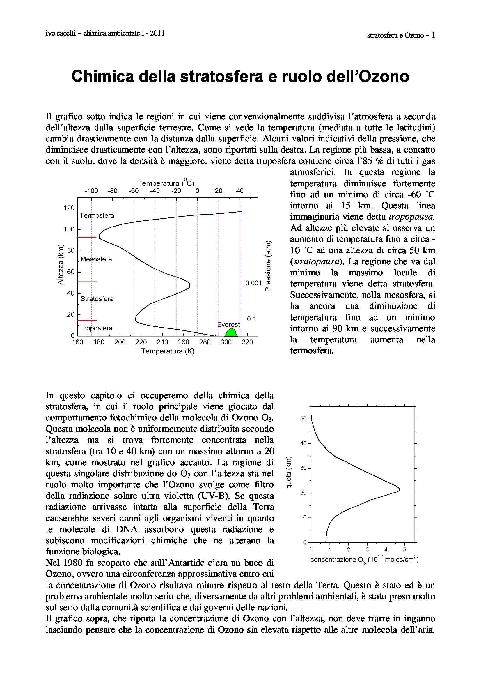 Chimica della stratosfera e ozono