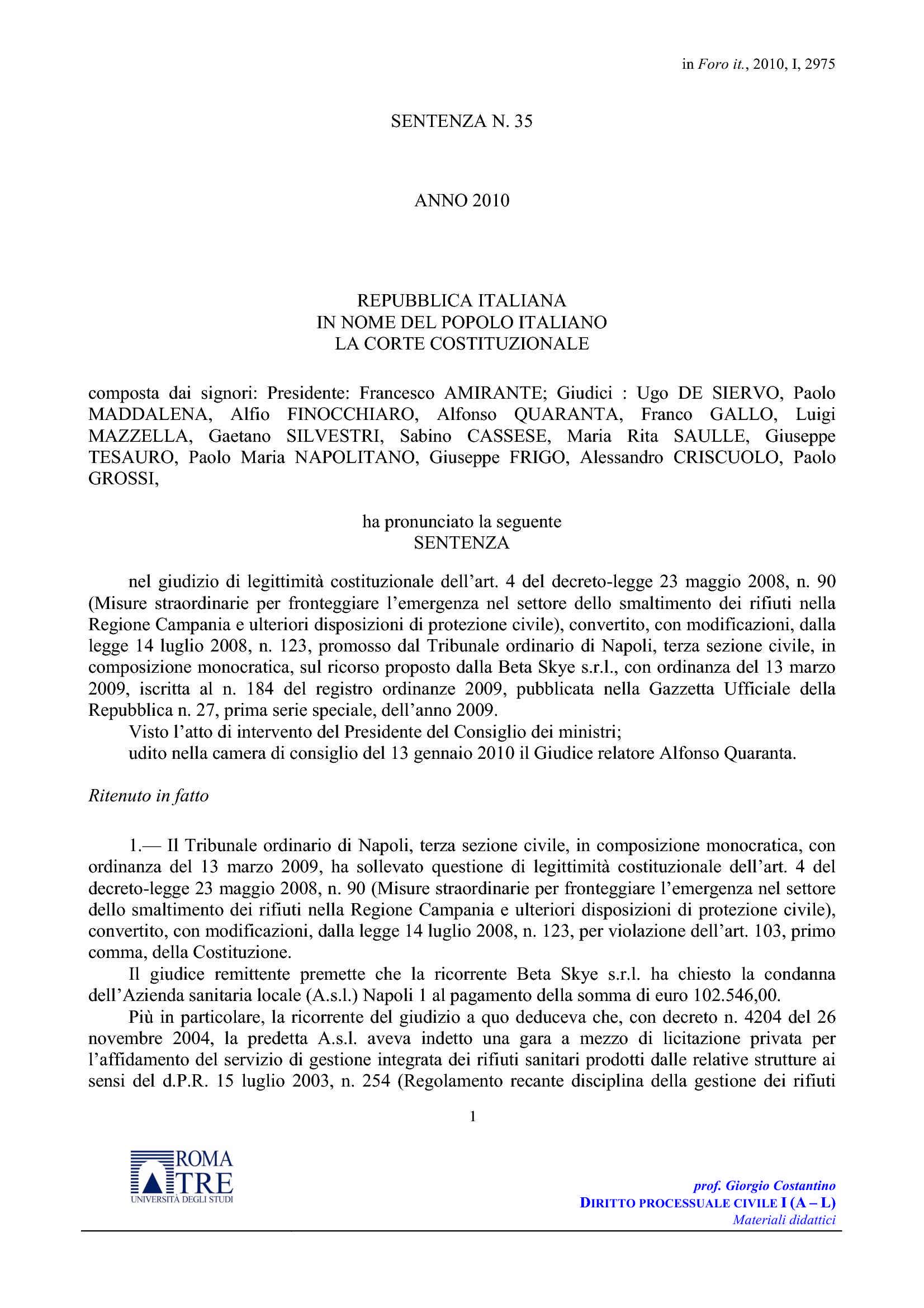 Gestione rifiuti - C. Cost. n. 35/10