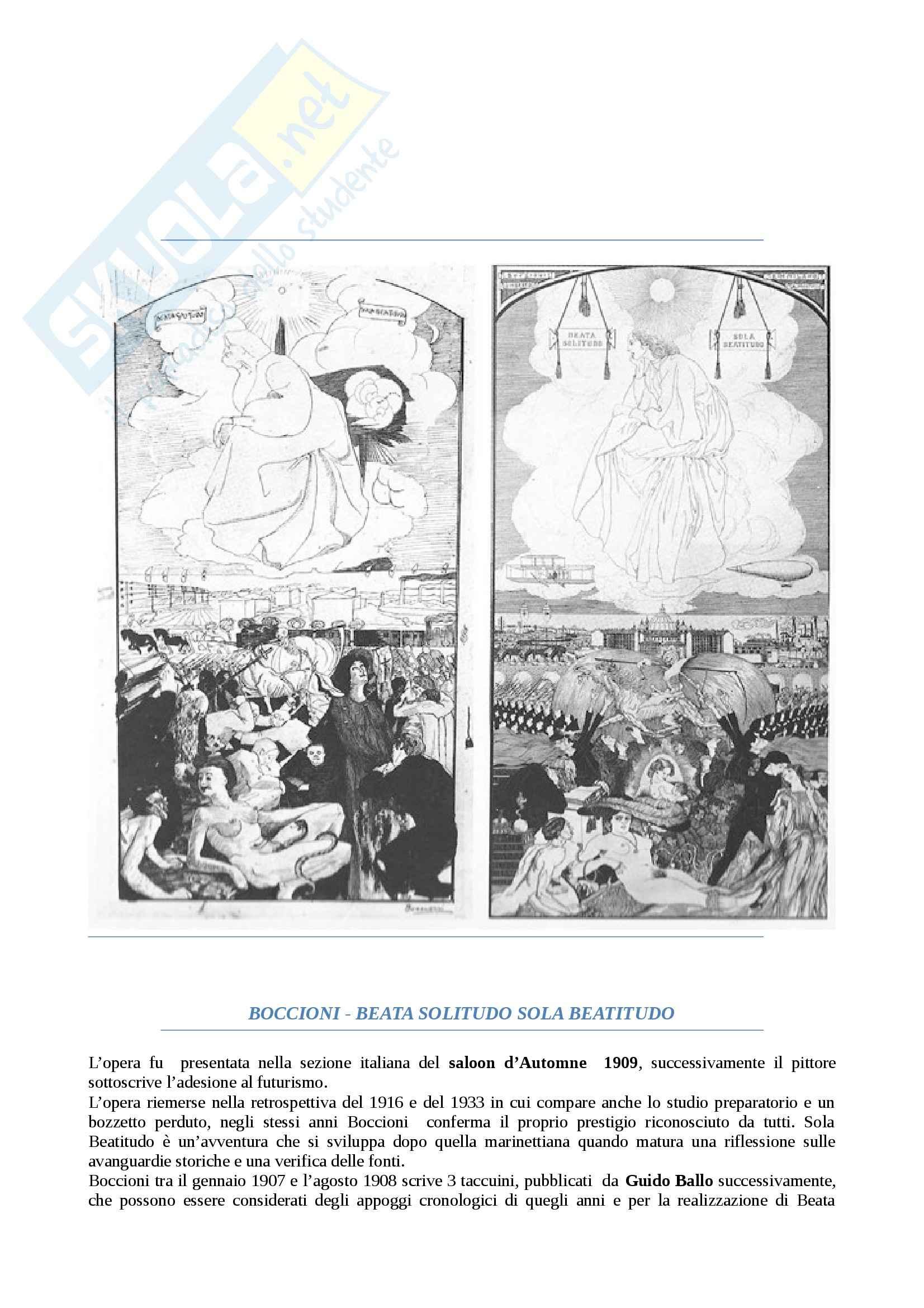 Riassunto esame Linguaggi dell'arte contemporanea, prof.Negri, libro consigliato Boccioni beata solitudo sola beatitudo, Rovati