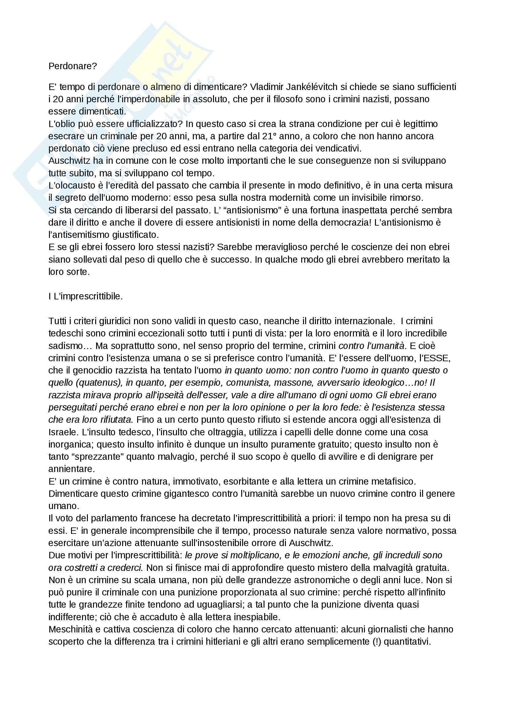 Riassunto esame Filosofia, prof. Boella, libro consigliato Trattato delle virtù, Jankèlèvitch