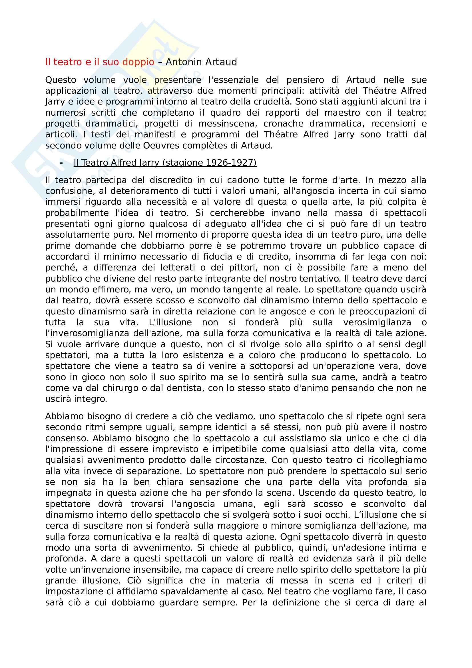 Riassunto esame Teatro, spettacolo, performance, prof. Guarino, libro consigliato Il teatro e il suo doppio, Artaud
