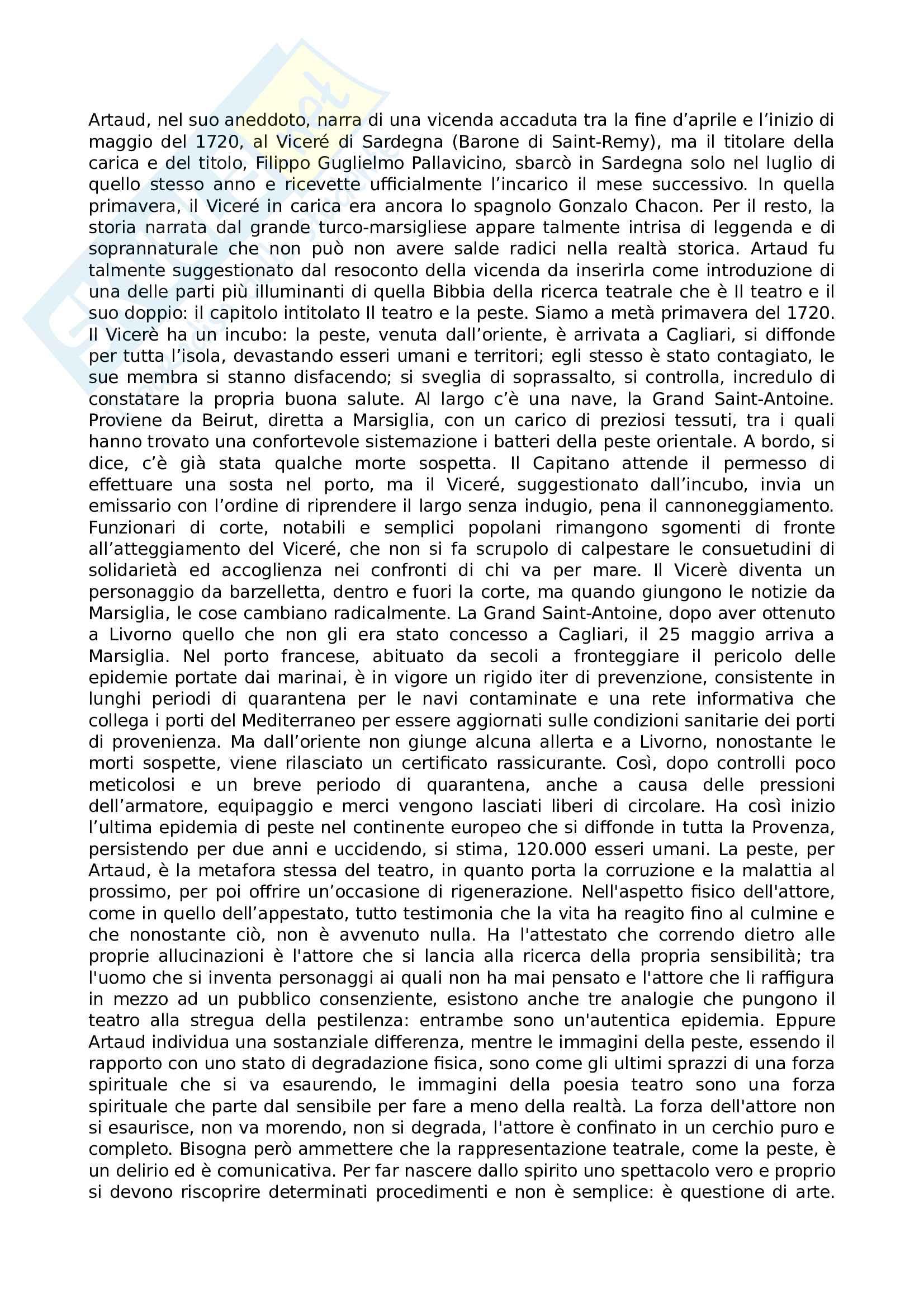 Riassunto esame Teatro, spettacolo, performance, prof. Guarino, libro consigliato Il teatro e il suo doppio, Artaud Pag. 6