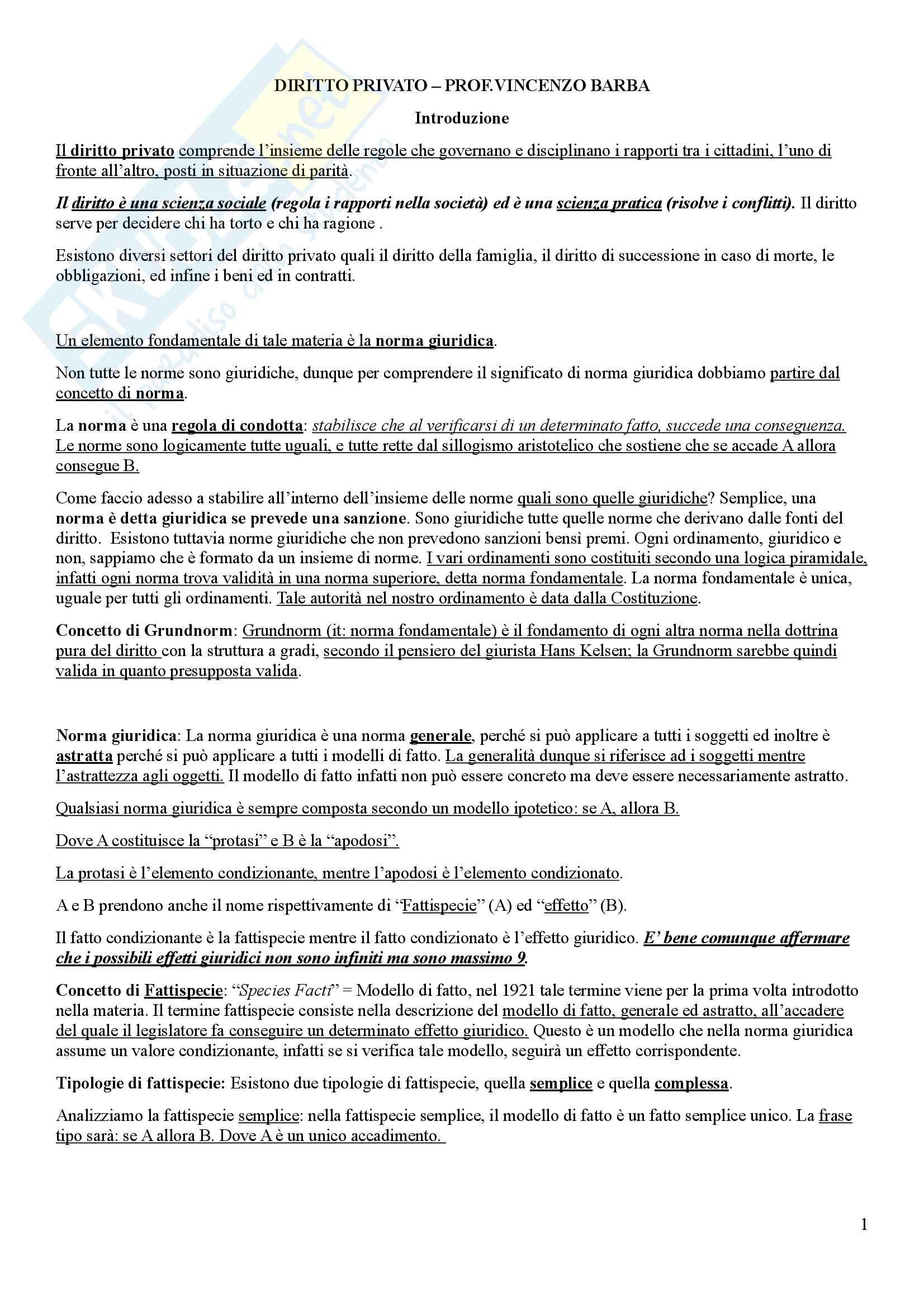 Riassunto esame Diritto Privato - Vincenzo Barba
