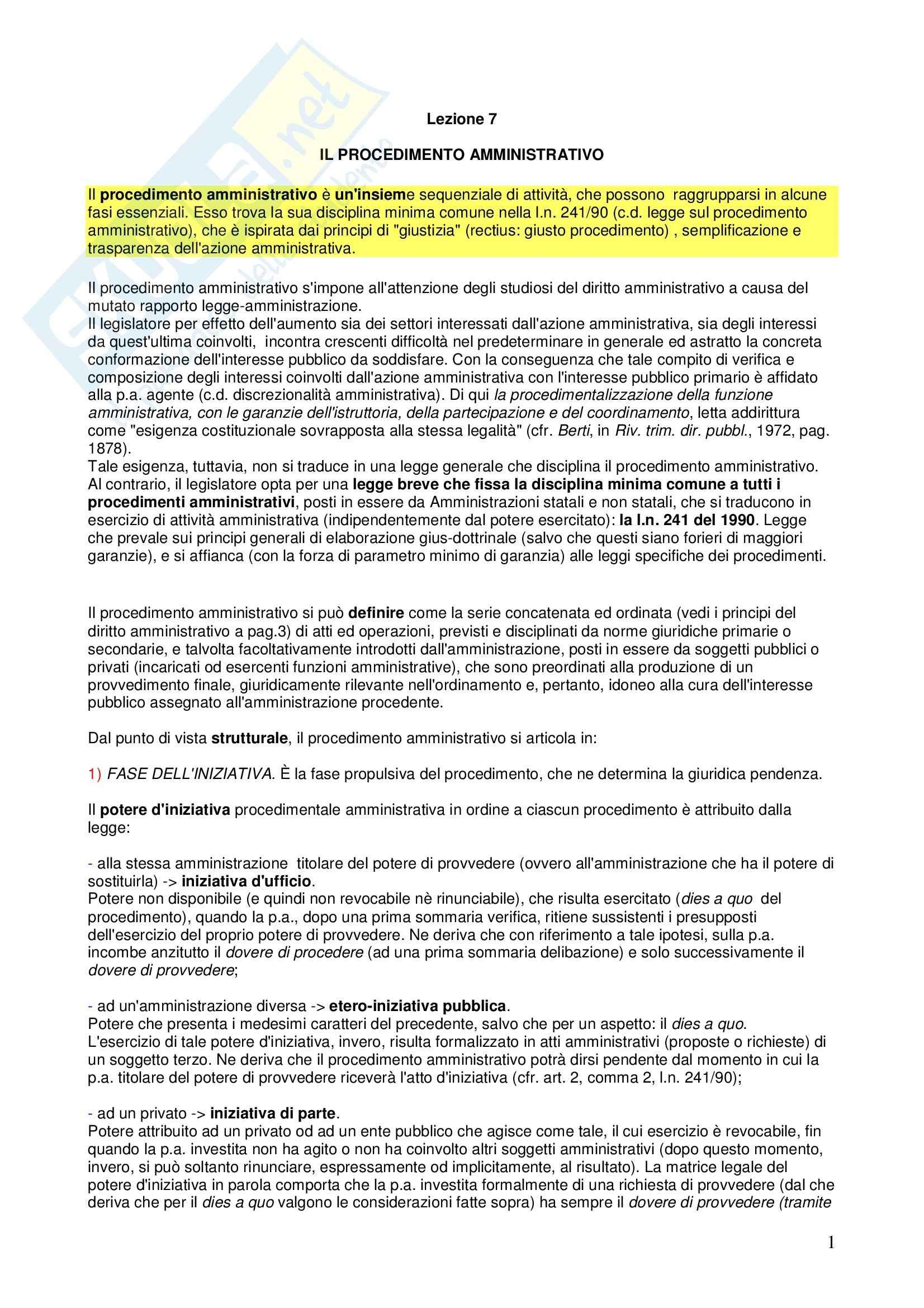 Diritto amministrativo - il procedimento amministrativo