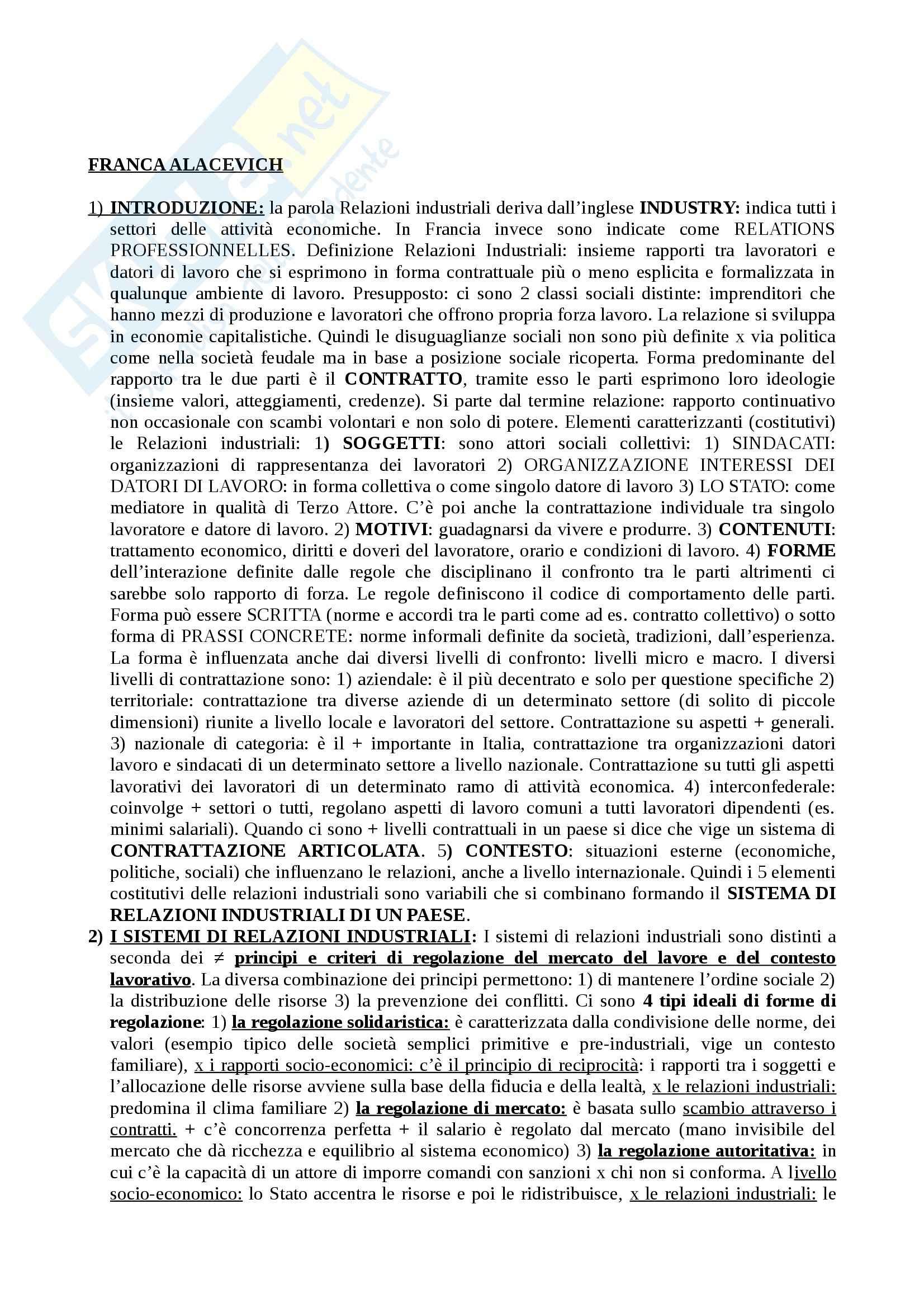 Riassunto esame Sociologia del Lavoro, prof. Alacevich, libro consigliato Le Relazioni Industriali in Italia