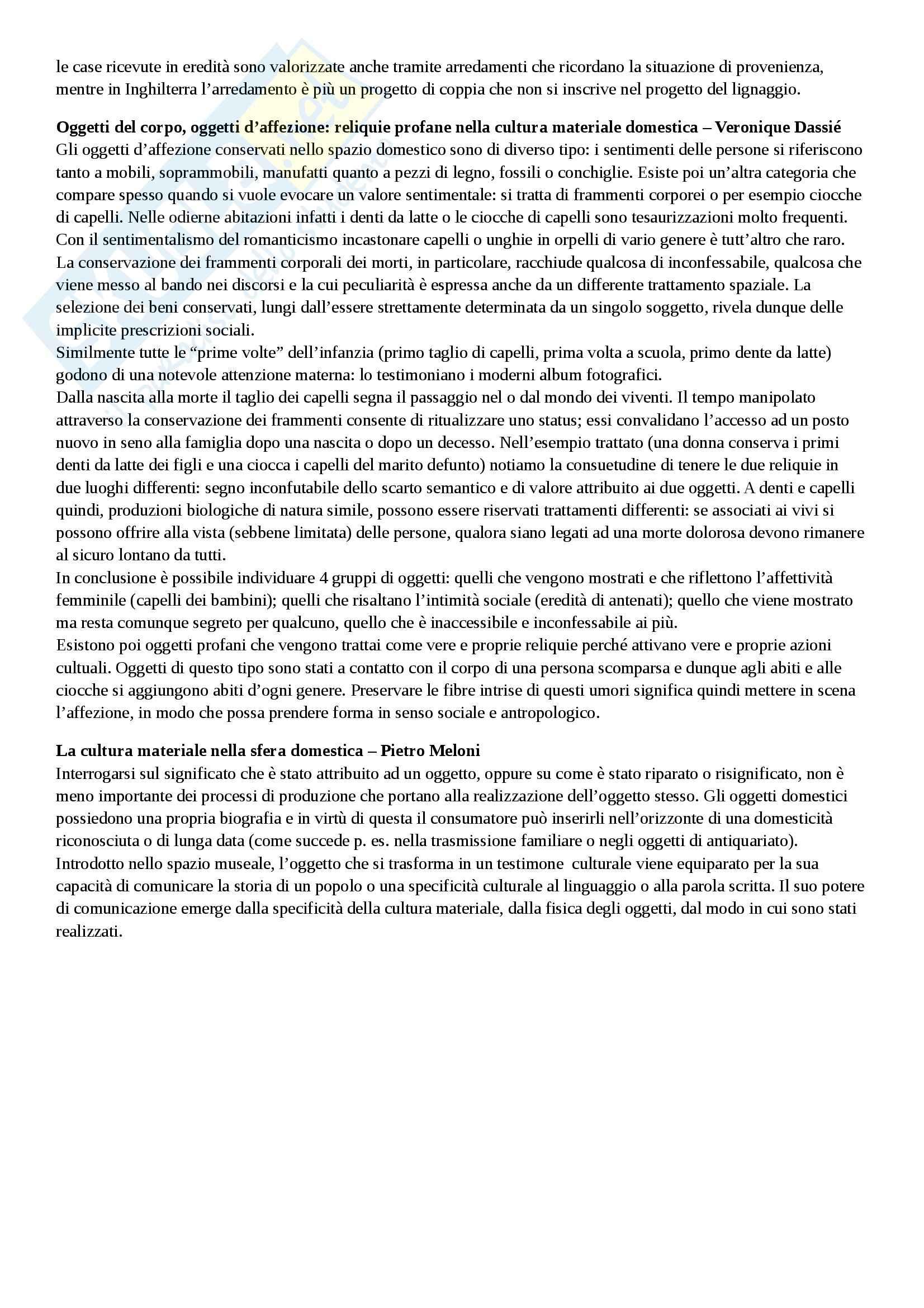 Riassunto esame Antropologia, prof. Giusti, libro consigliato La materia del quotidiano, Bernardi, Dei, Meloni Pag. 6