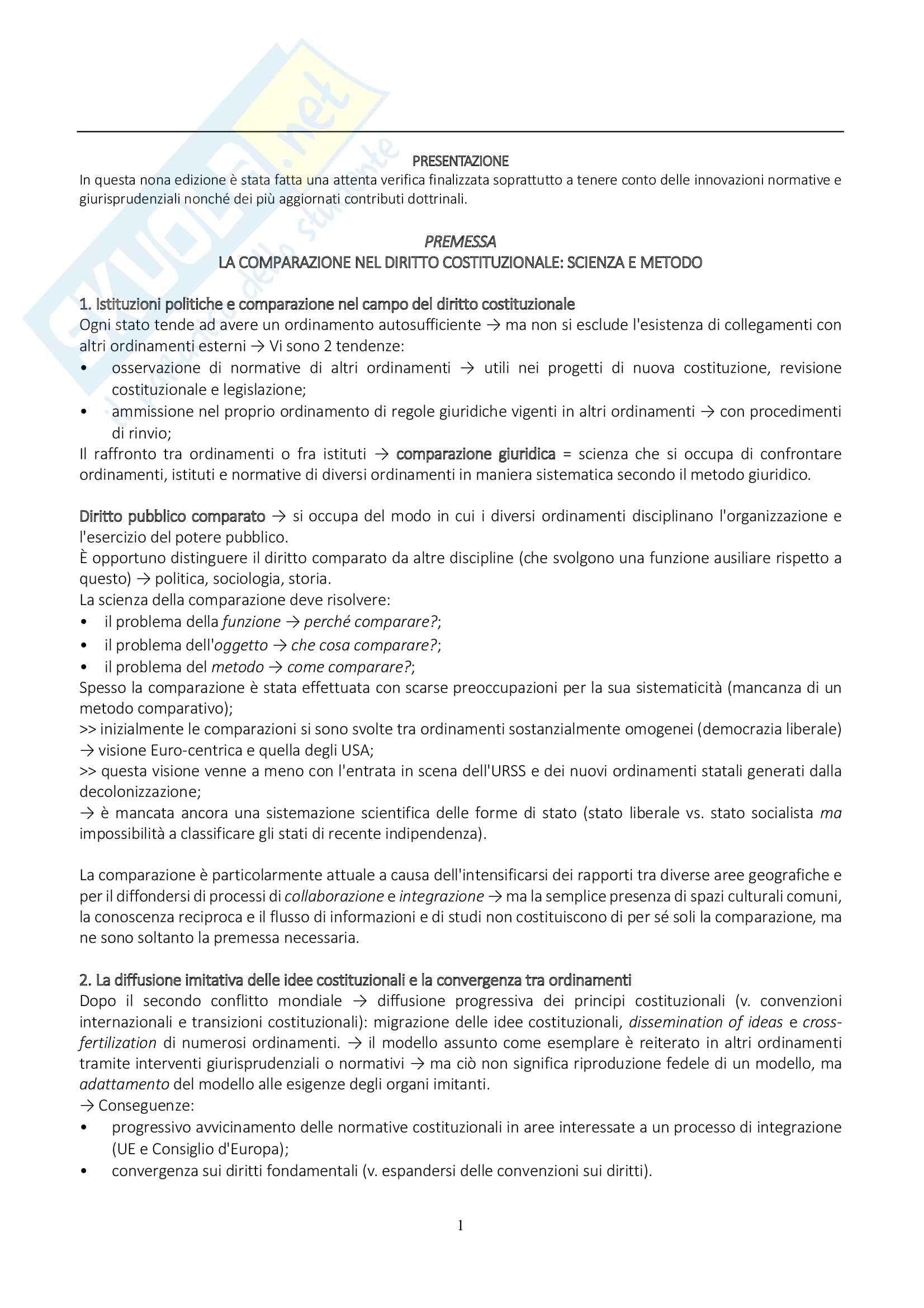 Riassunto esame, Diritto, prof. Mancini, libro consigliato Diritto Costituzionale Comparato, De Vergottini