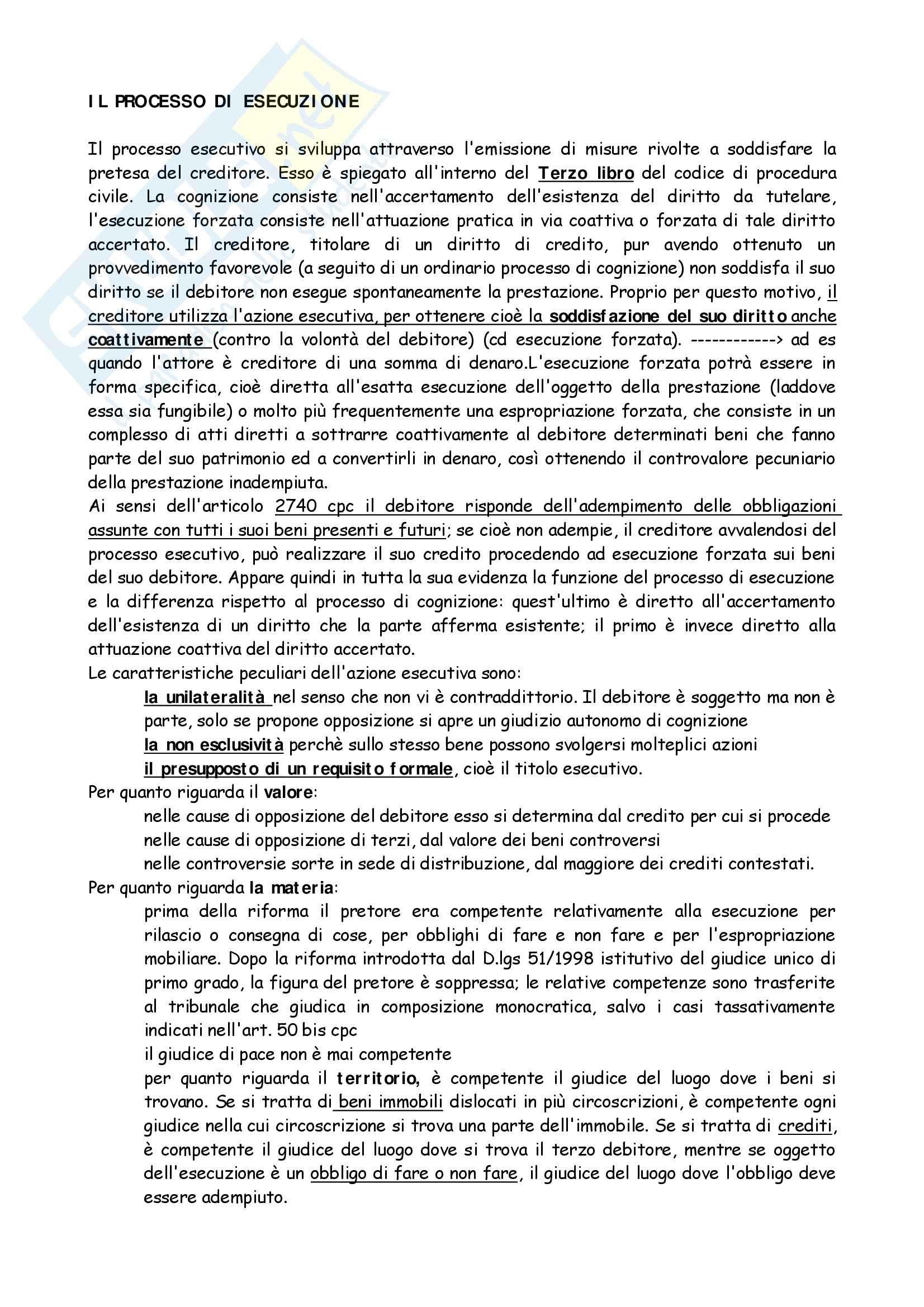 Diritto processuale civile II - processo di esecuzione