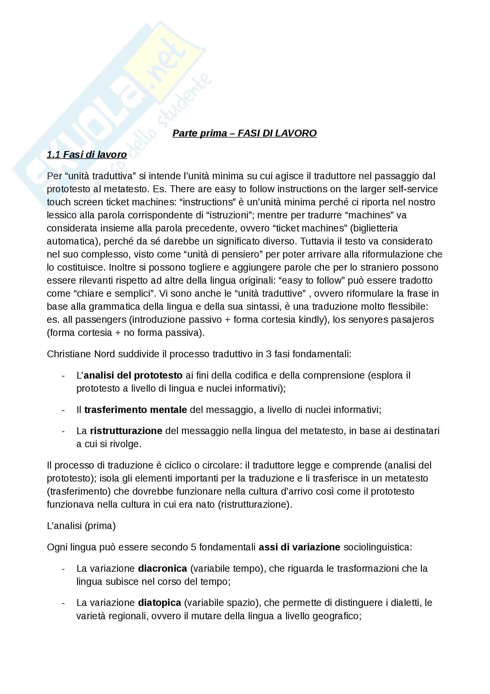Riassunto esame Traduzione, prof. Diadori, libro consigliato Teoria e Tecnica della Traduzione, Diadori