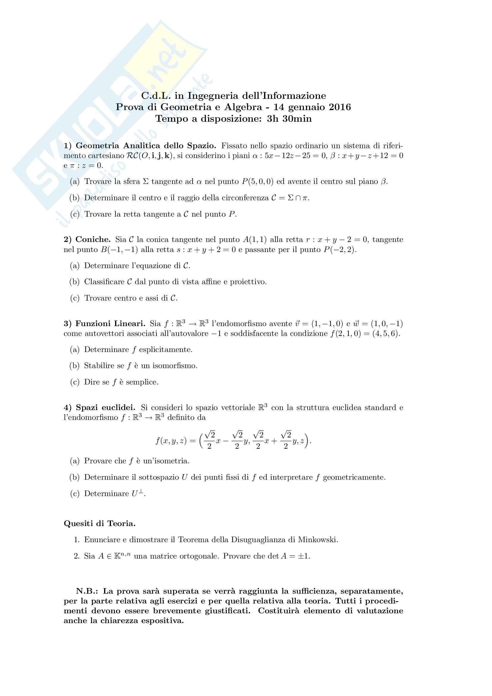 Traccia di esame di Geometria e Algebra Lineare svolta (100% corretta)