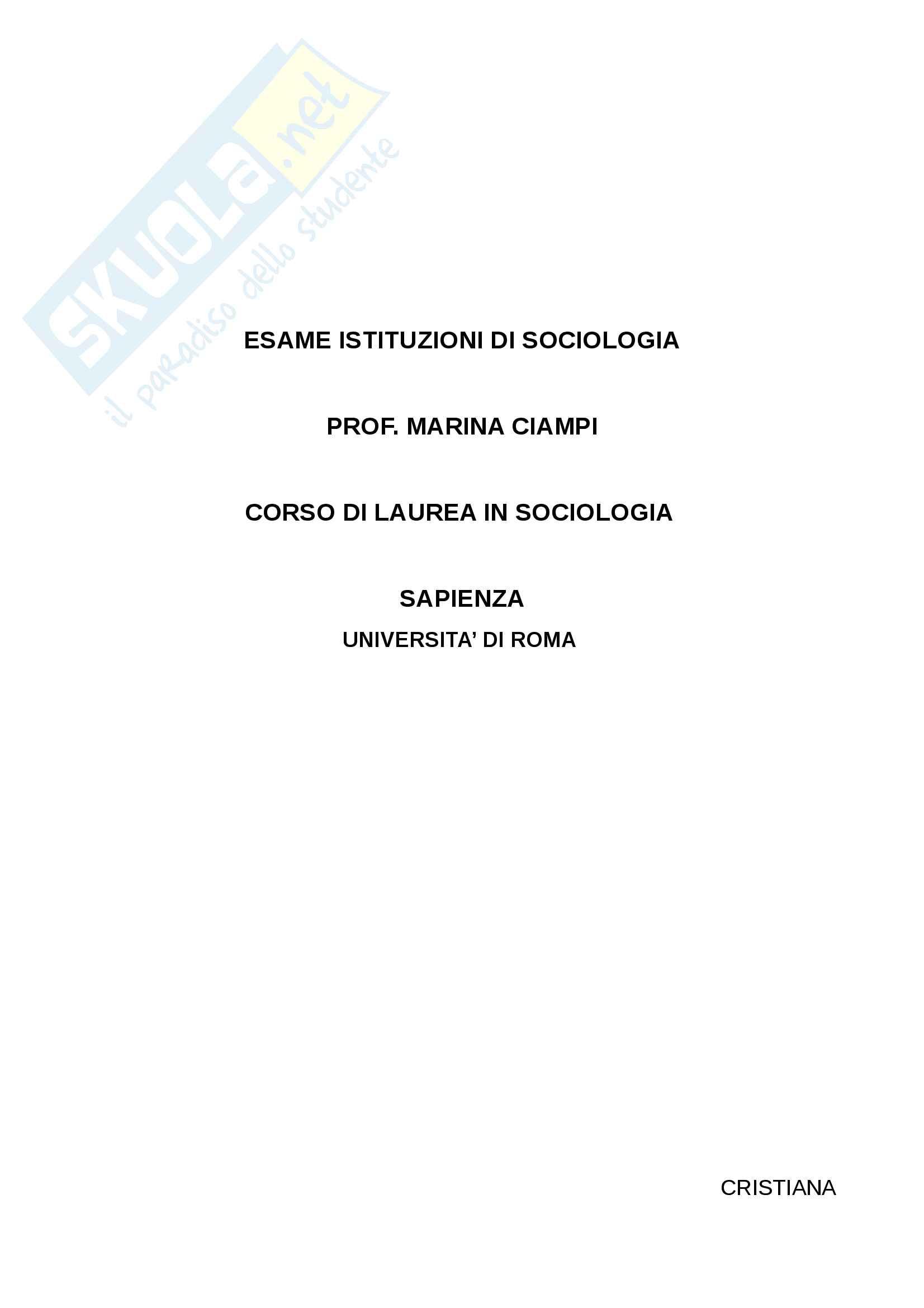 Esame Istituzioni di sociologia prof. Ciampi Pag. 1