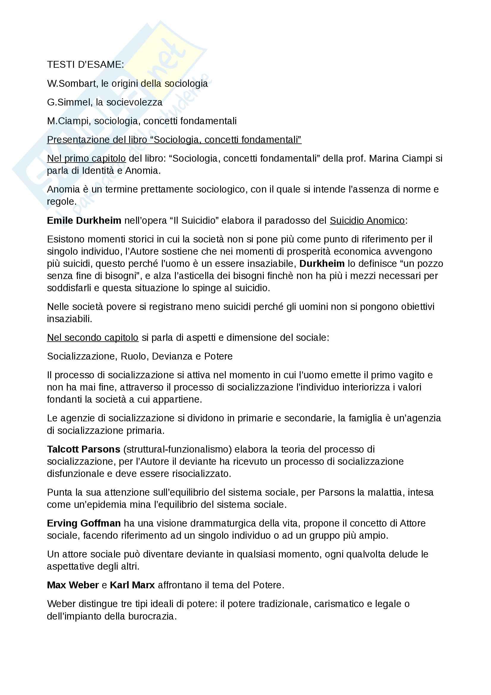 Esame Istituzioni di sociologia prof. Ciampi Pag. 2