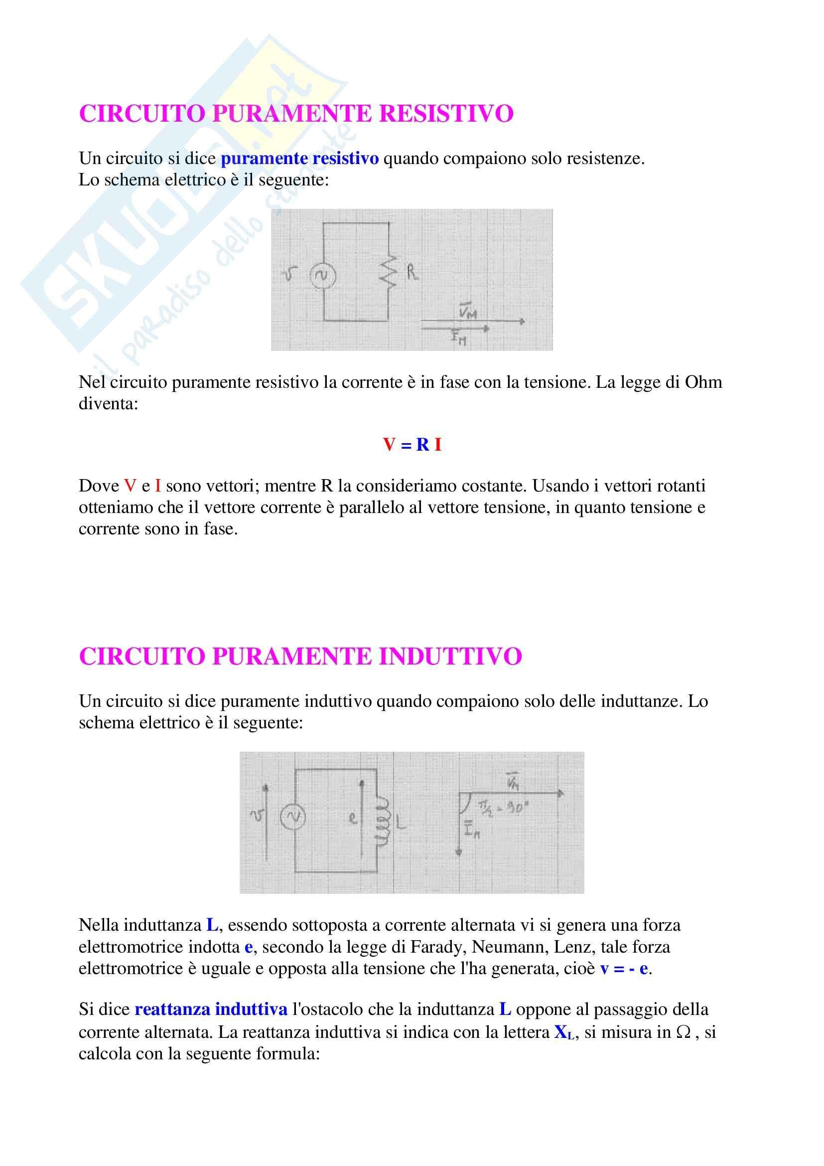 Elettrotecnica - circuito puramente resistivo - Appunti