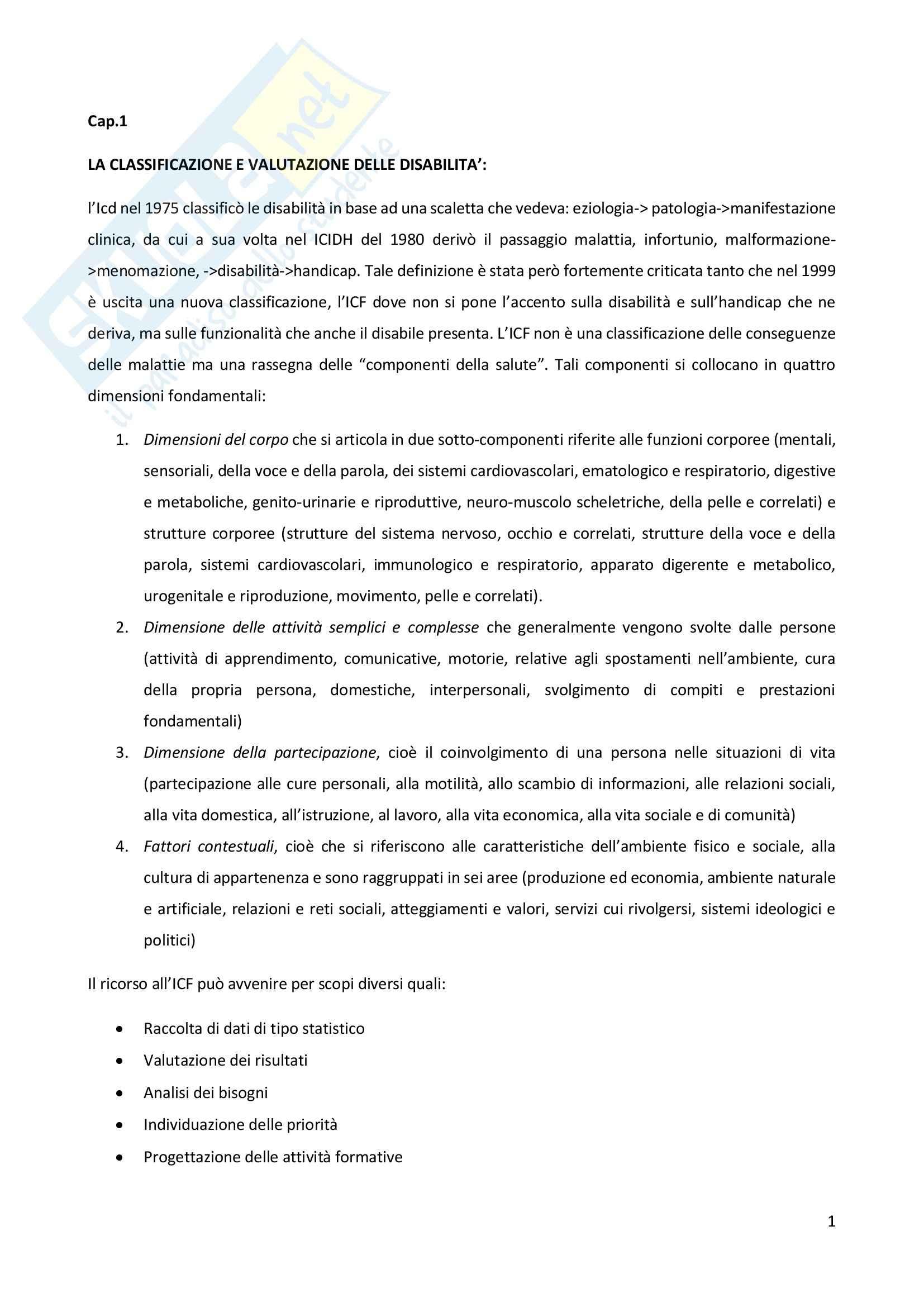 Psicologia delle disabilità, Soresi - Appunti cap. 1