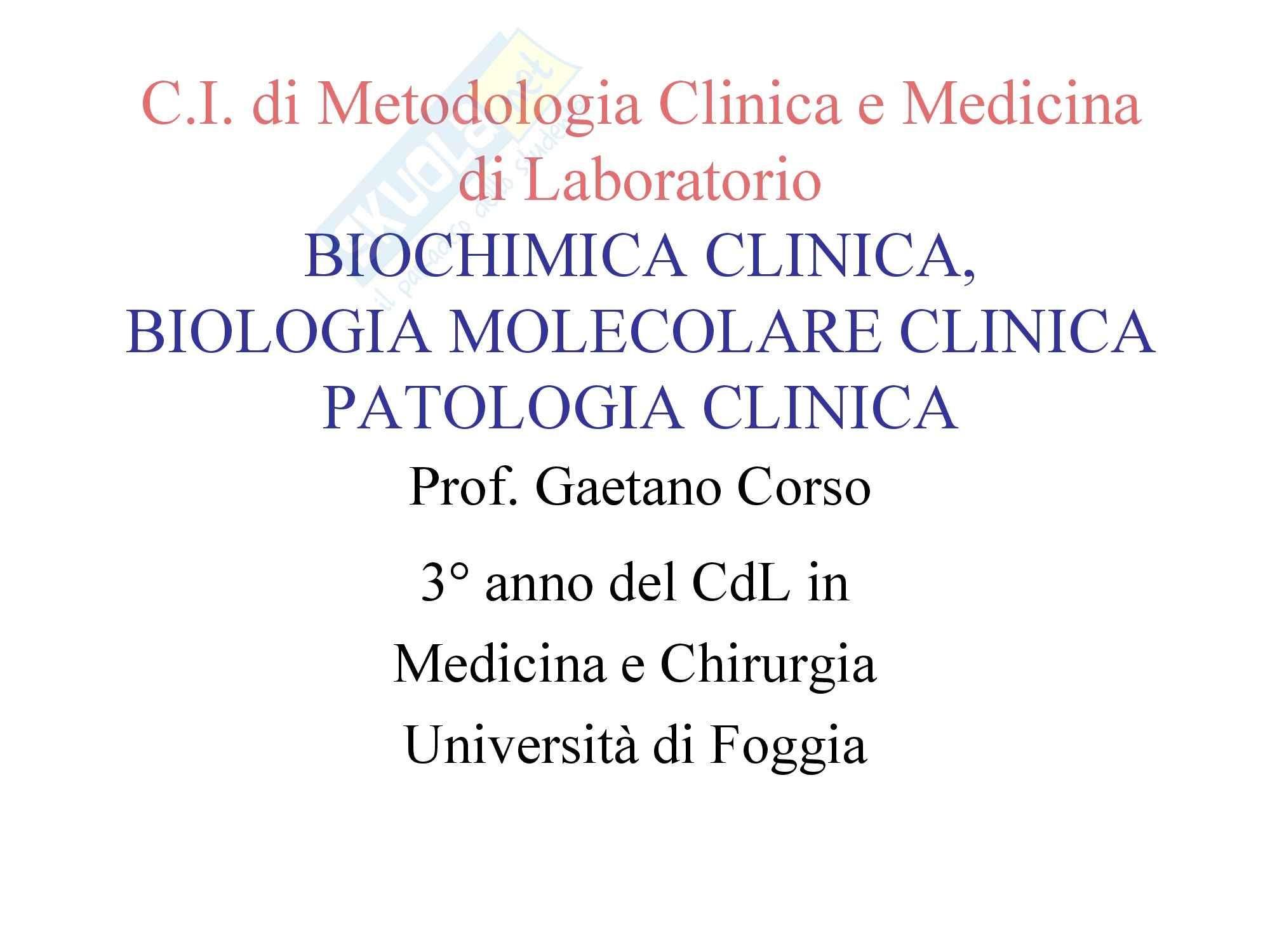 Biochimica Clinica e patologia clinica - Introduzione