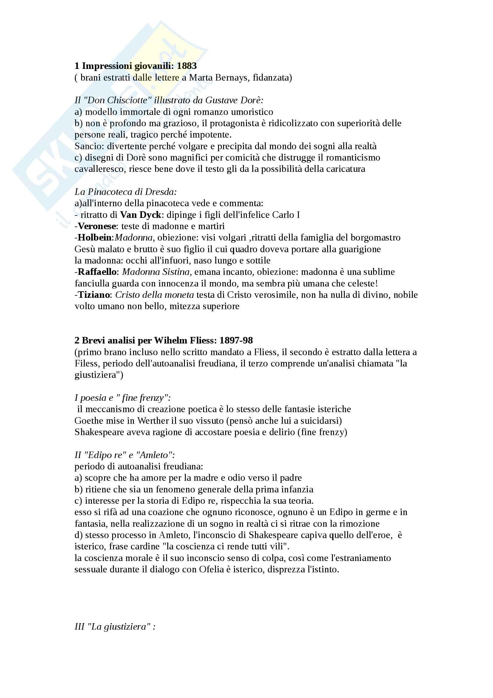 Riassunto esame Psicologia, prof. Ferrari, libro consigliato Saggi sull'arte, la letteratura, il linguaggio, Freud