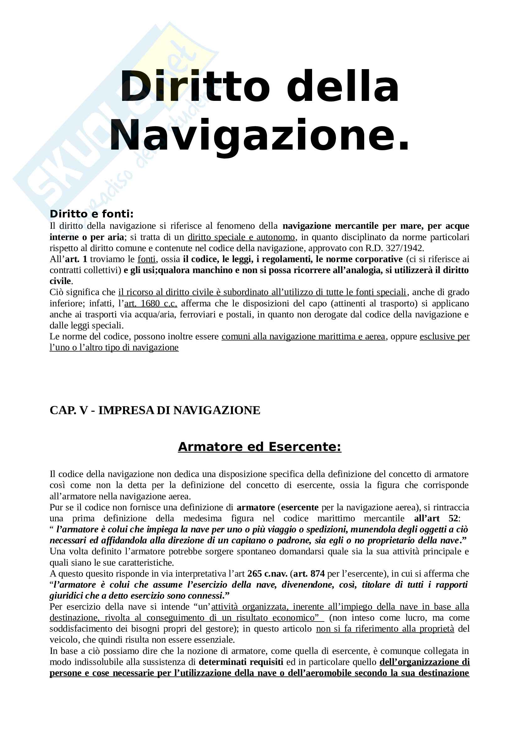 Riassunto esame di Diritto della navigazione, libro consigliato Manuale di diritto della navigazione