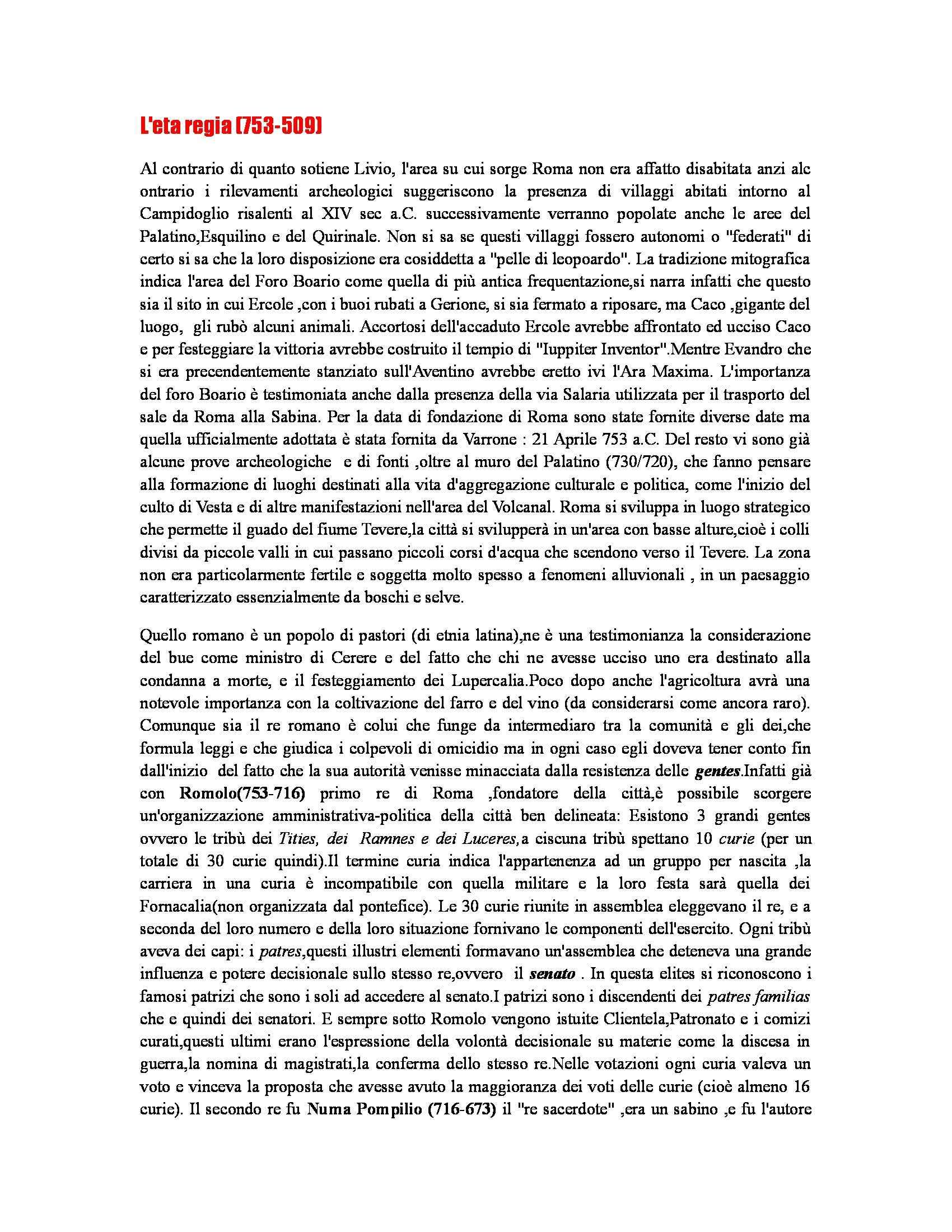 Riassunto esame Storia romana, prof. Soricelli, libro consigliato Introduzione alla storia di Roma, Gabba, Foroboschi