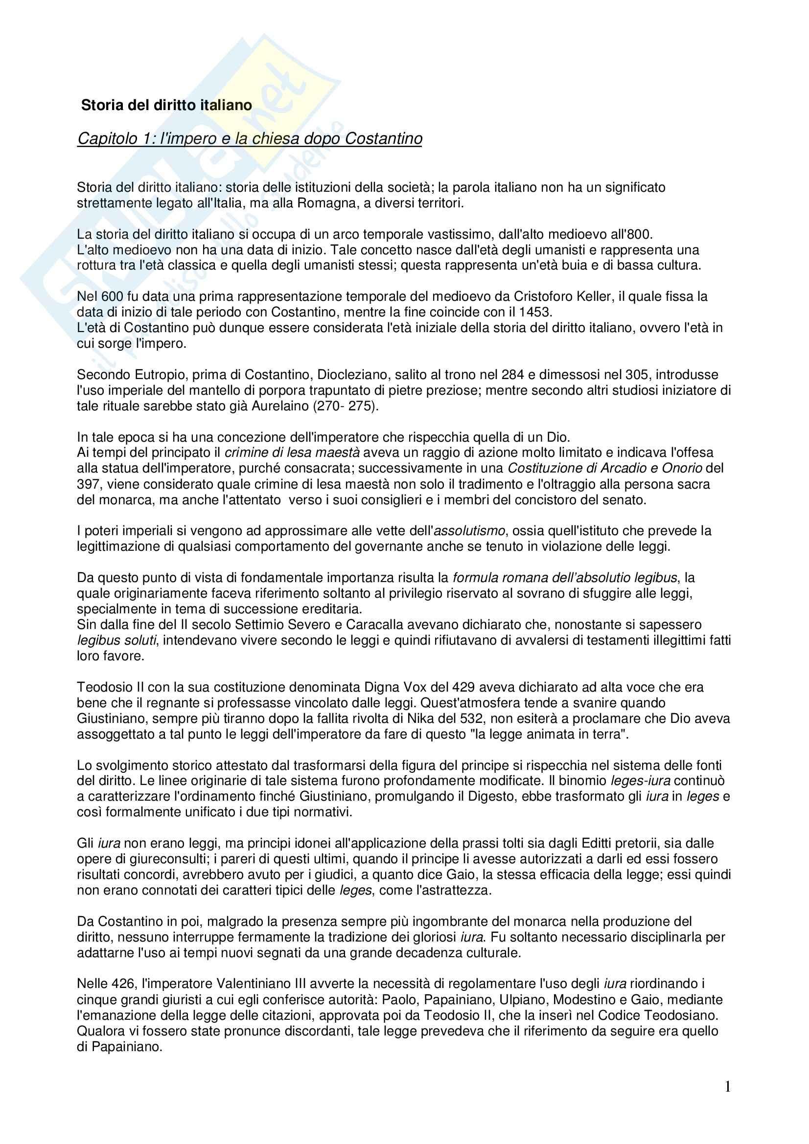 Riassunto esame STORIA DEL DIRITTO ITALIANO, prof. Vallone, libro consigliato Le grandi linee della storia giuridica medievale, Cortese