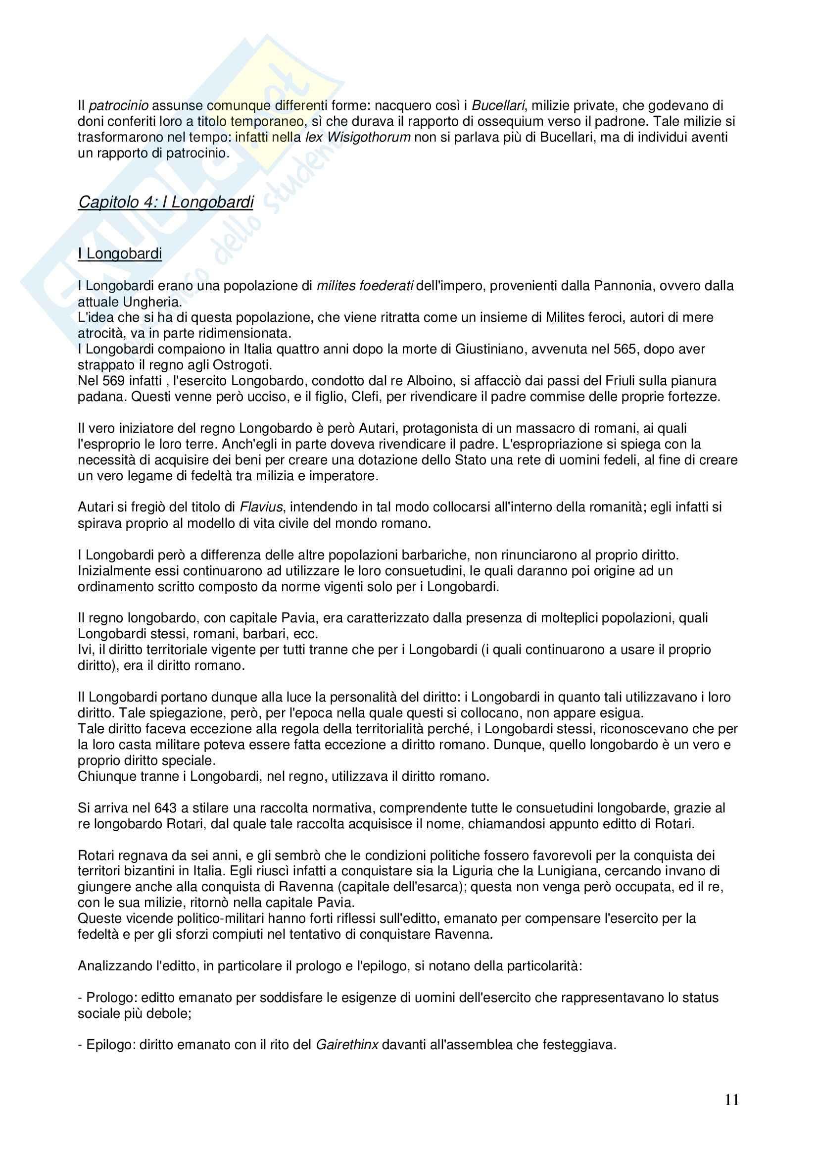 Riassunto esame STORIA DEL DIRITTO ITALIANO, prof. Vallone, libro consigliato Le grandi linee della storia giuridica medievale, Cortese Pag. 11