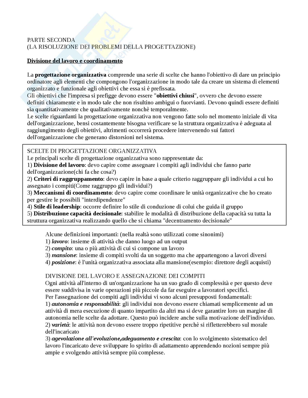 Appunti organizzazione aziendale(2)-Unifi-Economia aziendale-A.A.2015/2016: Divisione del lavoro, criteri di raggruppamento, meccanismi di coordinamento, leadership, capacità decisionale,10 pagine