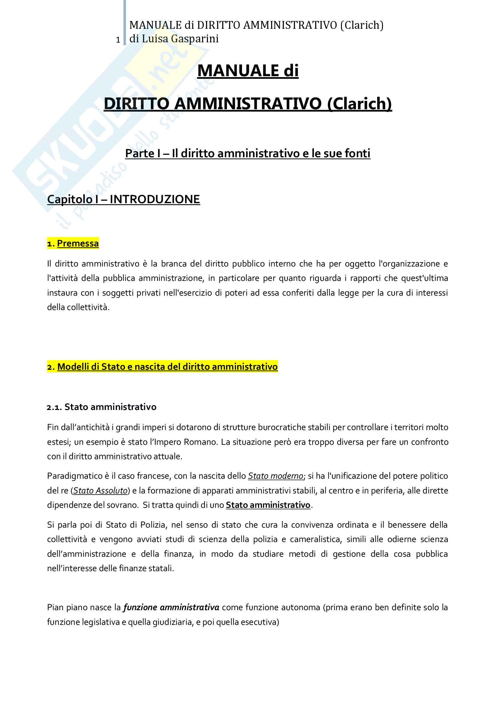 Riassunto esame Diritto amministrativo, professor Leonardi. Testo consigliato Manuale di Diritto Amministrativo, Clarich