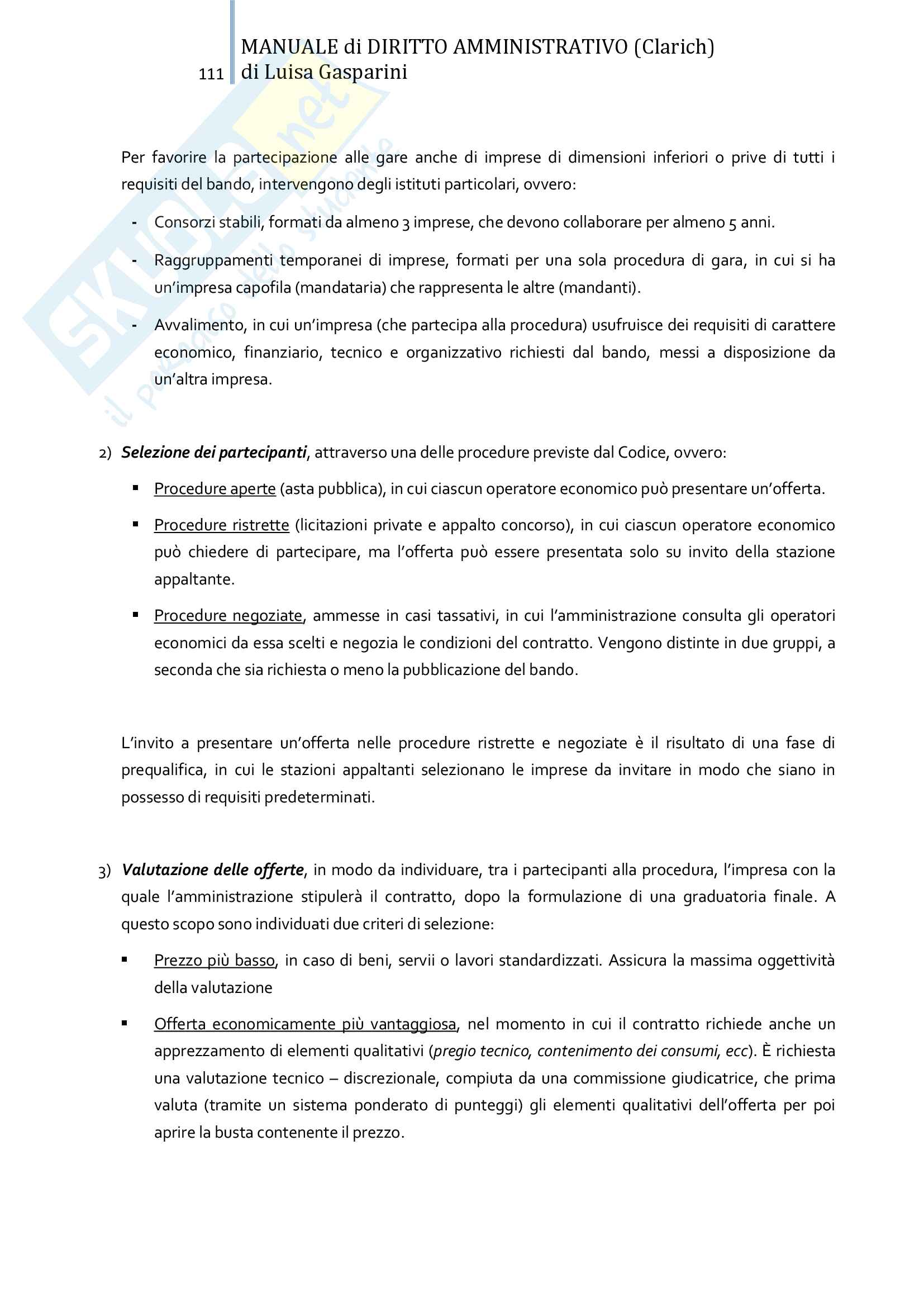 Riassunto esame Diritto amministrativo, professor Leonardi. Testo consigliato Manuale di Diritto Amministrativo, Clarich Pag. 111