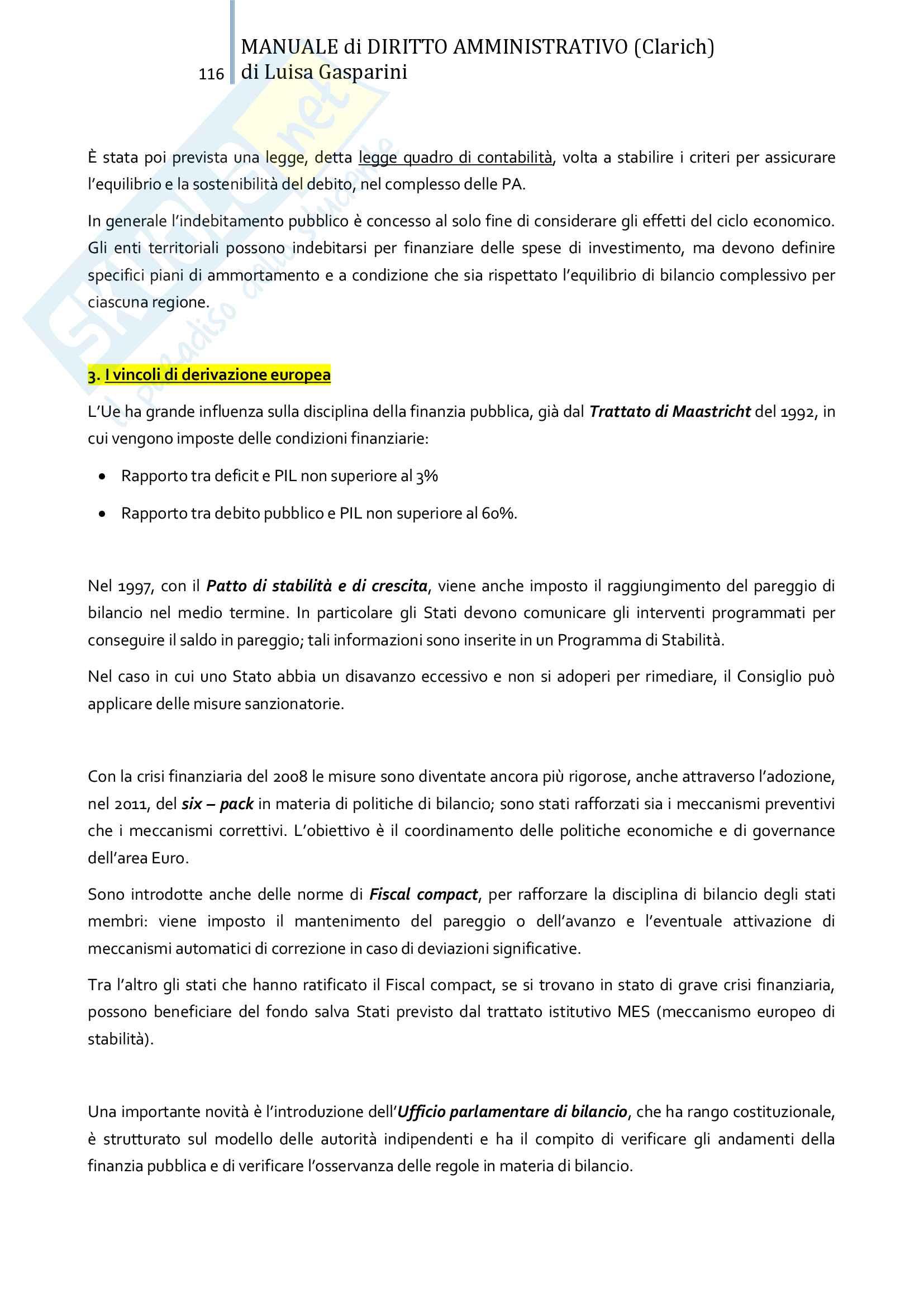 Riassunto esame Diritto amministrativo, professor Leonardi. Testo consigliato Manuale di Diritto Amministrativo, Clarich Pag. 116