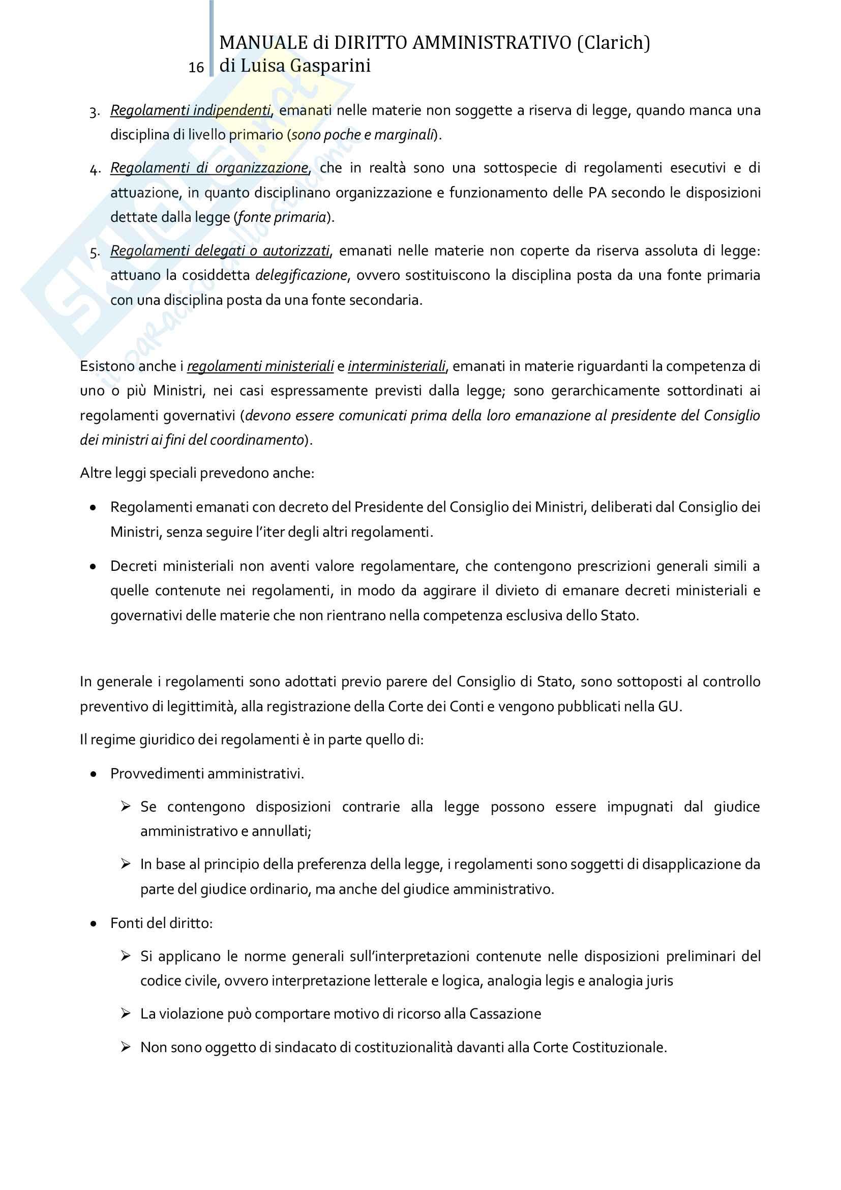 Riassunto esame Diritto amministrativo, professor Leonardi. Testo consigliato Manuale di Diritto Amministrativo, Clarich Pag. 16