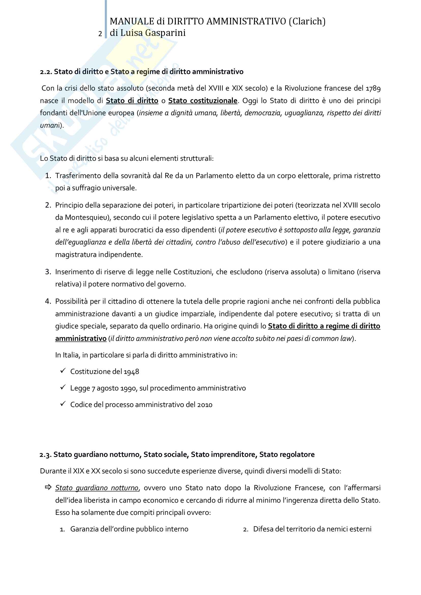 Riassunto esame Diritto amministrativo, professor Leonardi. Testo consigliato Manuale di Diritto Amministrativo, Clarich Pag. 2