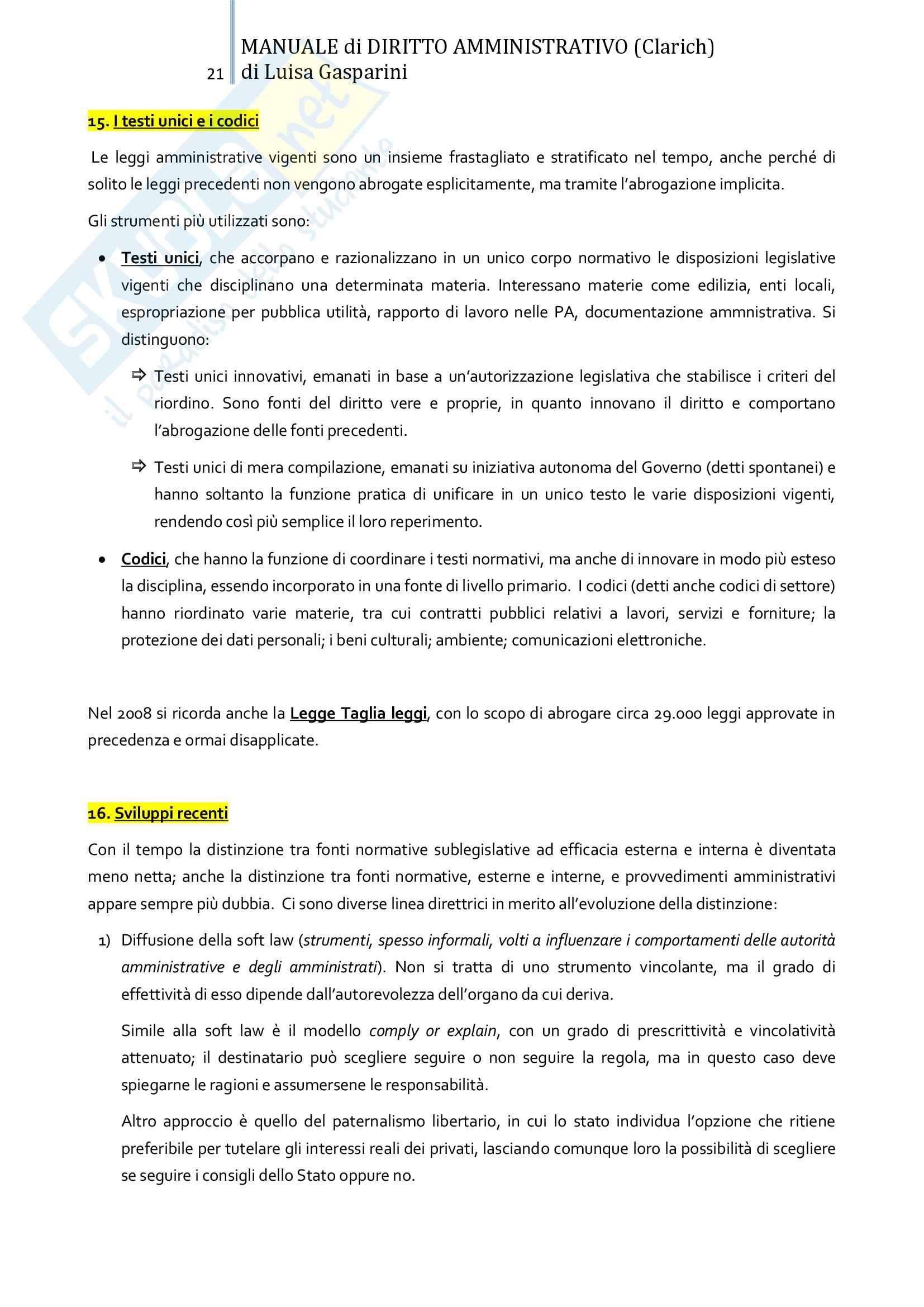 Riassunto esame Diritto amministrativo, professor Leonardi. Testo consigliato Manuale di Diritto Amministrativo, Clarich Pag. 21
