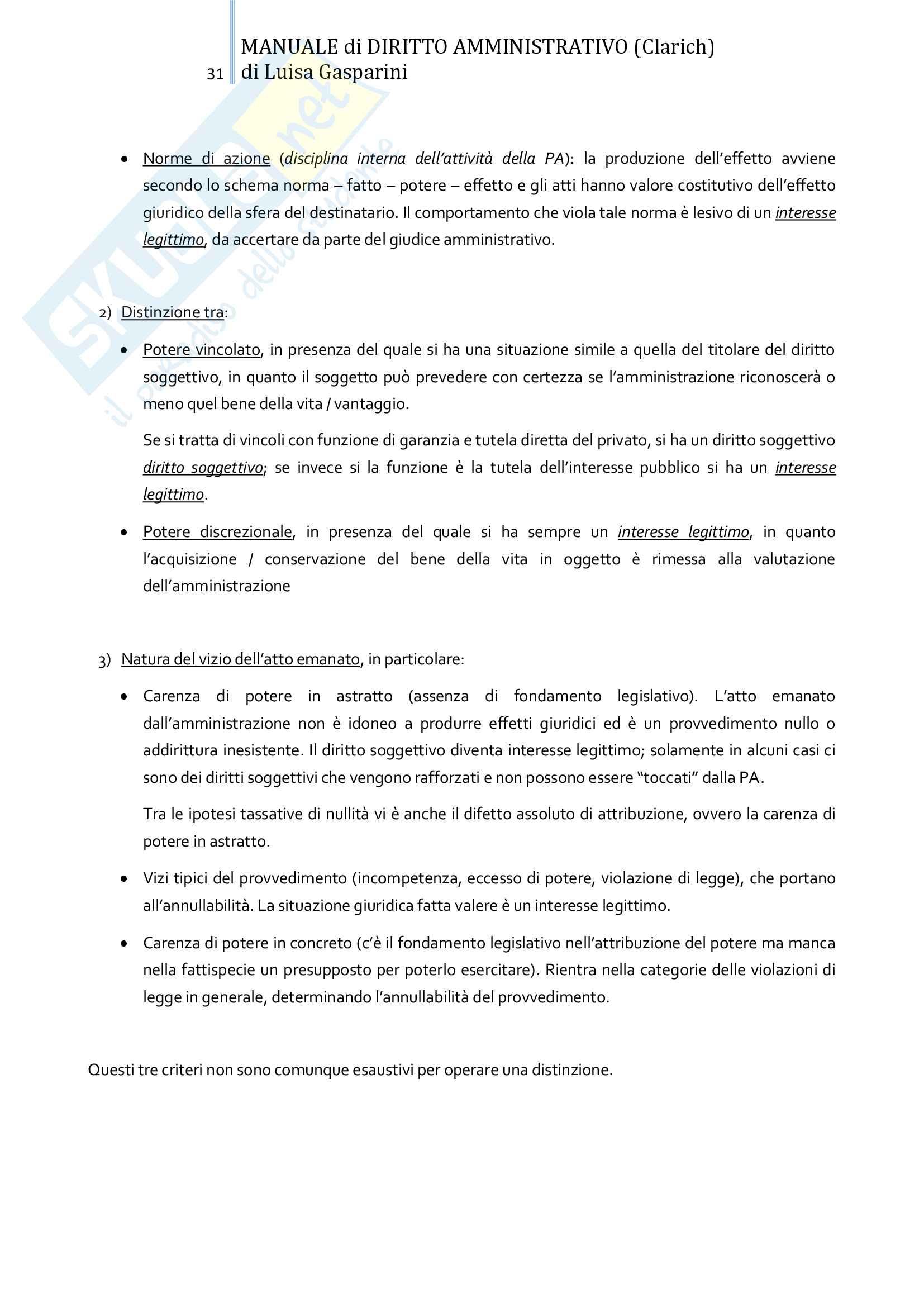 Riassunto esame Diritto amministrativo, professor Leonardi. Testo consigliato Manuale di Diritto Amministrativo, Clarich Pag. 31