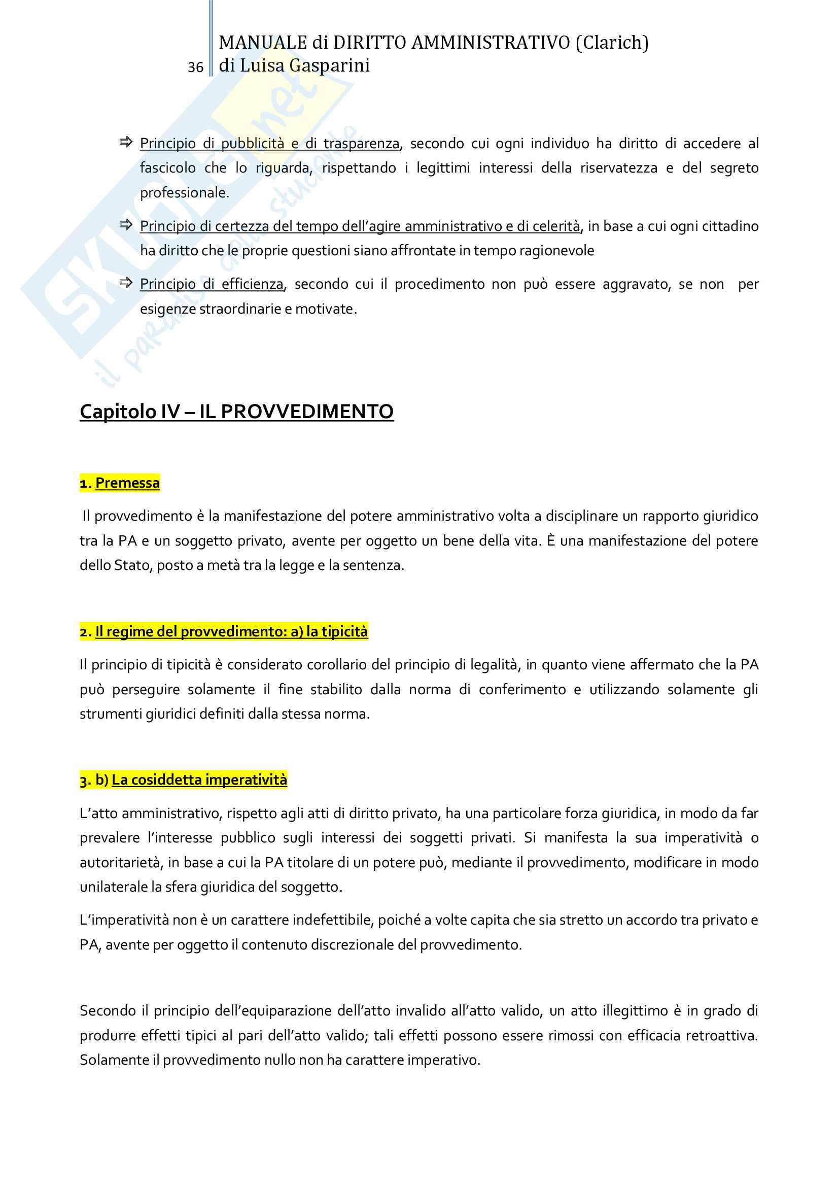 Riassunto esame Diritto amministrativo, professor Leonardi. Testo consigliato Manuale di Diritto Amministrativo, Clarich Pag. 36