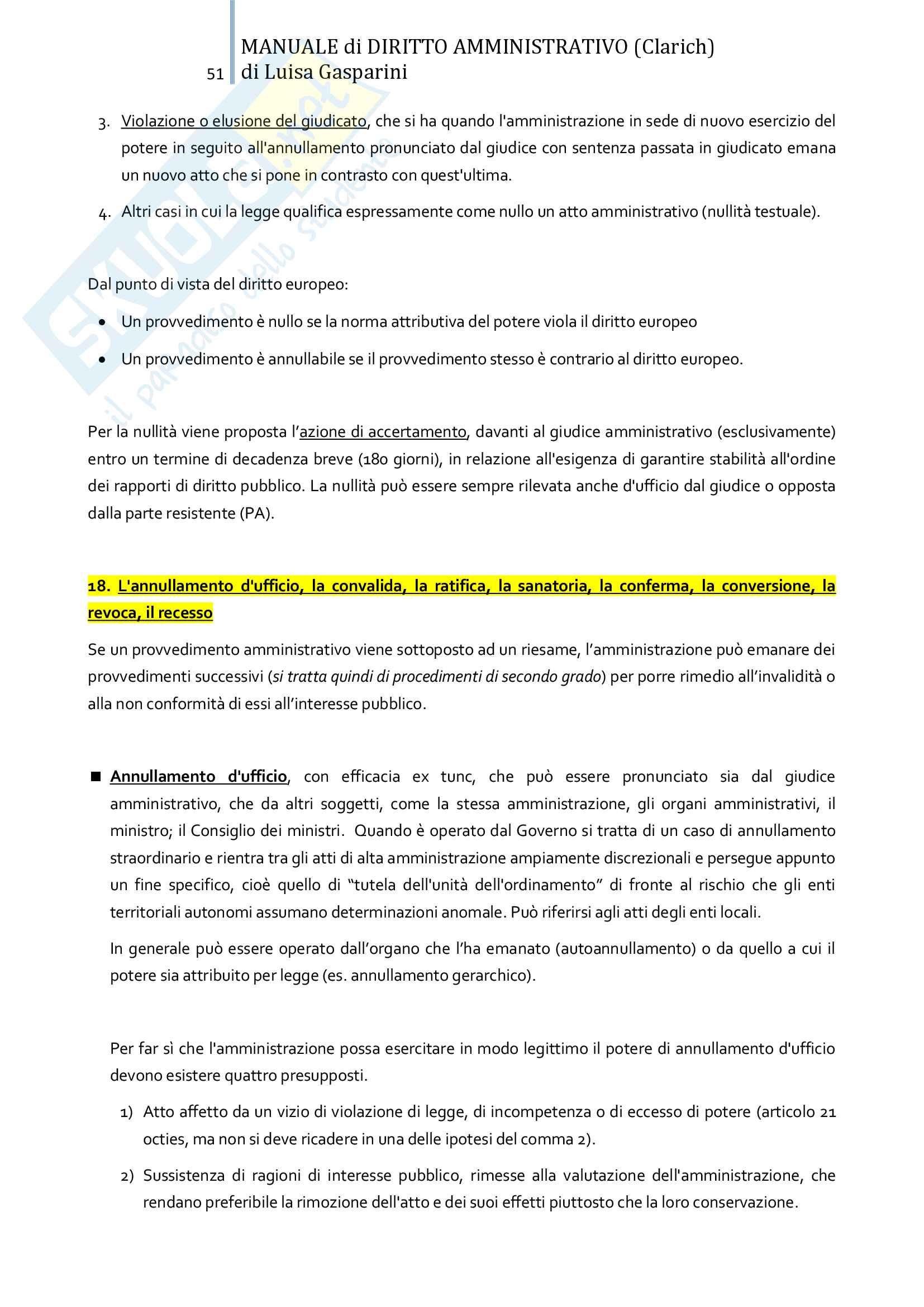 Riassunto esame Diritto amministrativo, professor Leonardi. Testo consigliato Manuale di Diritto Amministrativo, Clarich Pag. 51