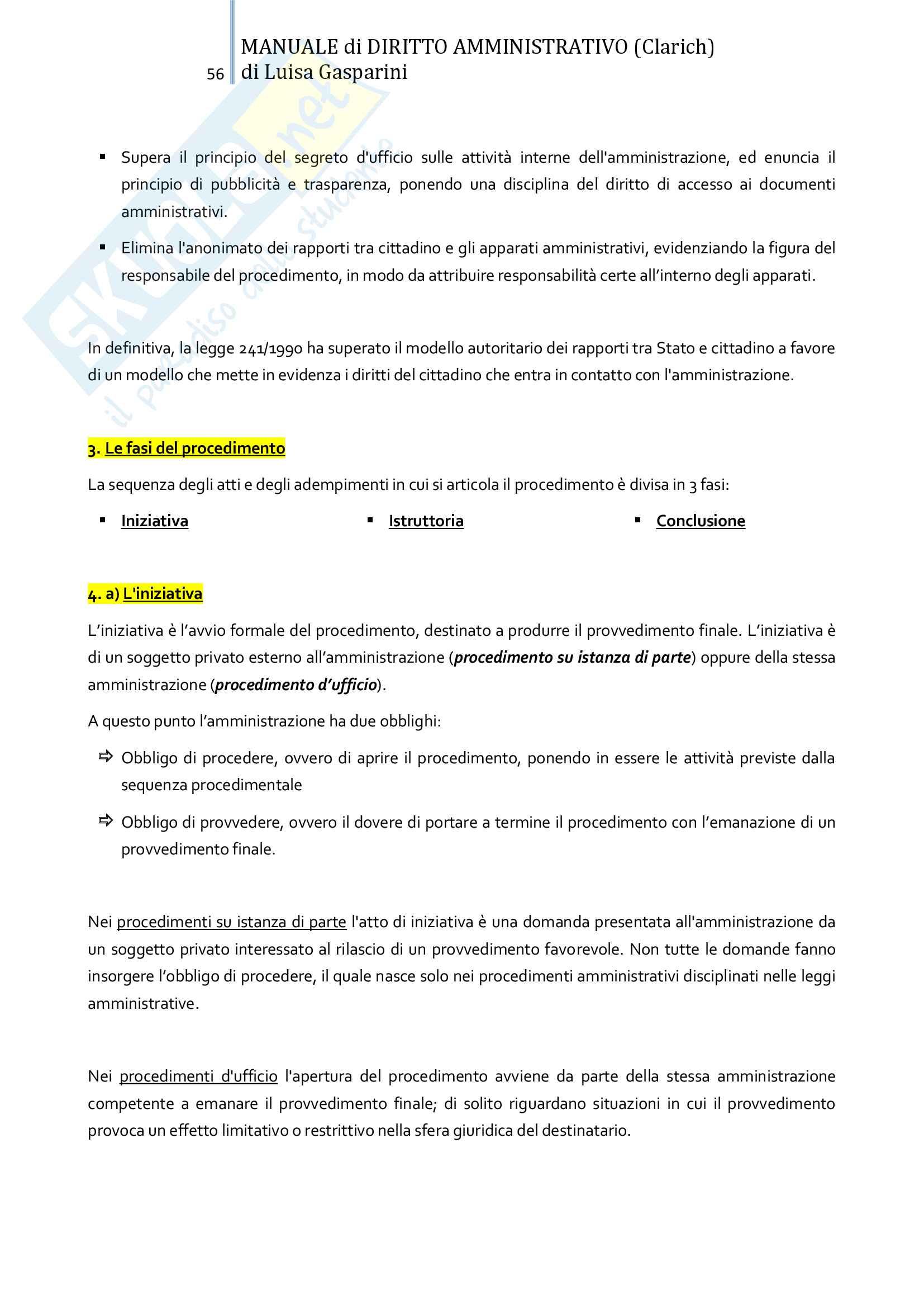 Riassunto esame Diritto amministrativo, professor Leonardi. Testo consigliato Manuale di Diritto Amministrativo, Clarich Pag. 56