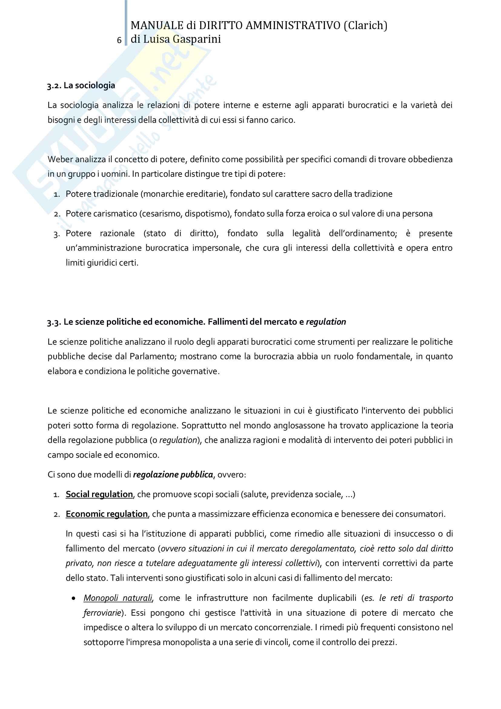 Riassunto esame Diritto amministrativo, professor Leonardi. Testo consigliato Manuale di Diritto Amministrativo, Clarich Pag. 6