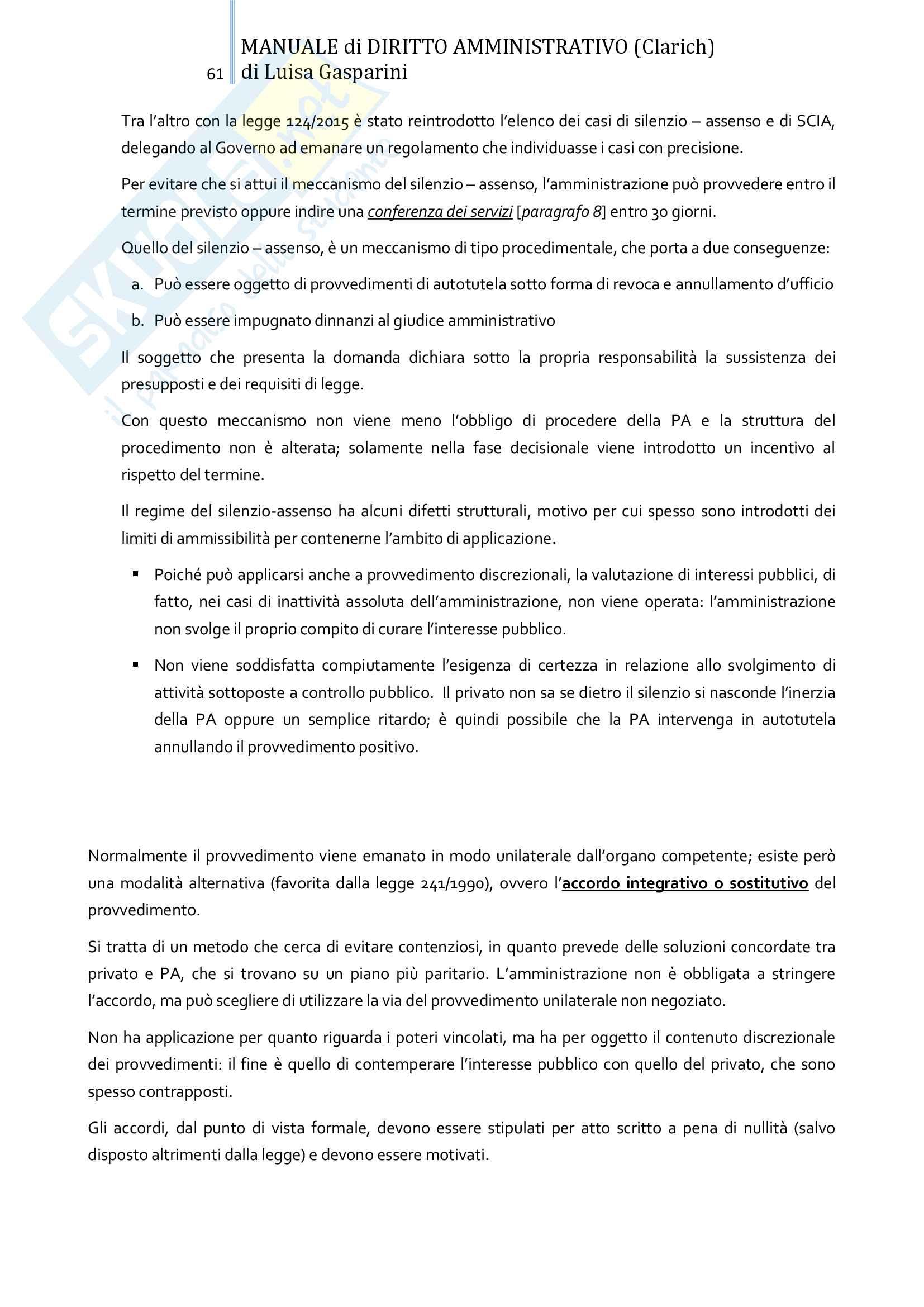 Riassunto esame Diritto amministrativo, professor Leonardi. Testo consigliato Manuale di Diritto Amministrativo, Clarich Pag. 61