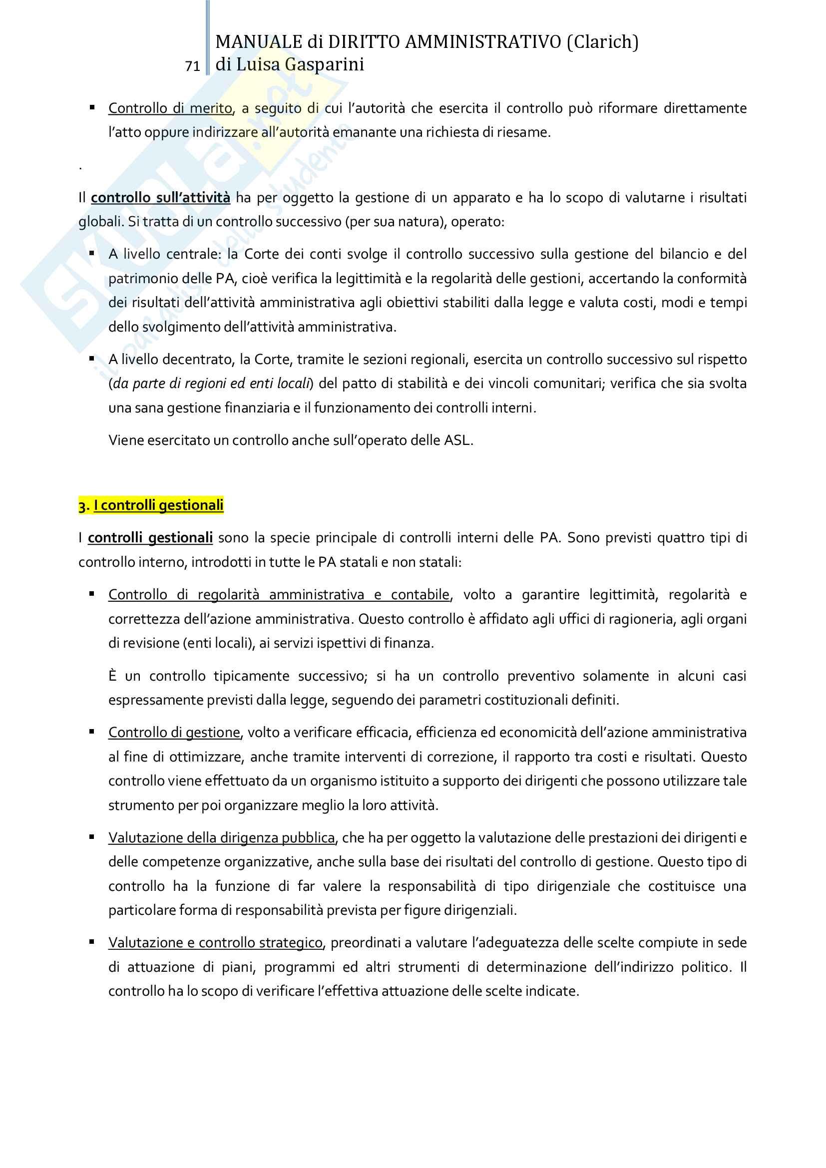 Riassunto esame Diritto amministrativo, professor Leonardi. Testo consigliato Manuale di Diritto Amministrativo, Clarich Pag. 71